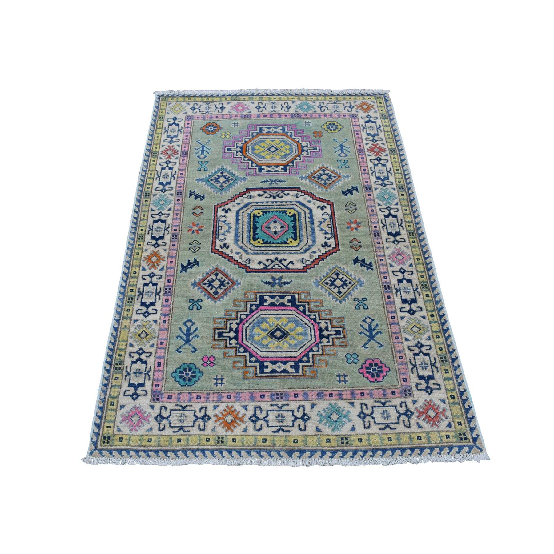 """3'3""""x5' Colorful Gray Fusion Kazak Pure Wool Geometric Design Hand Knotted Oriental Rug 54267"""