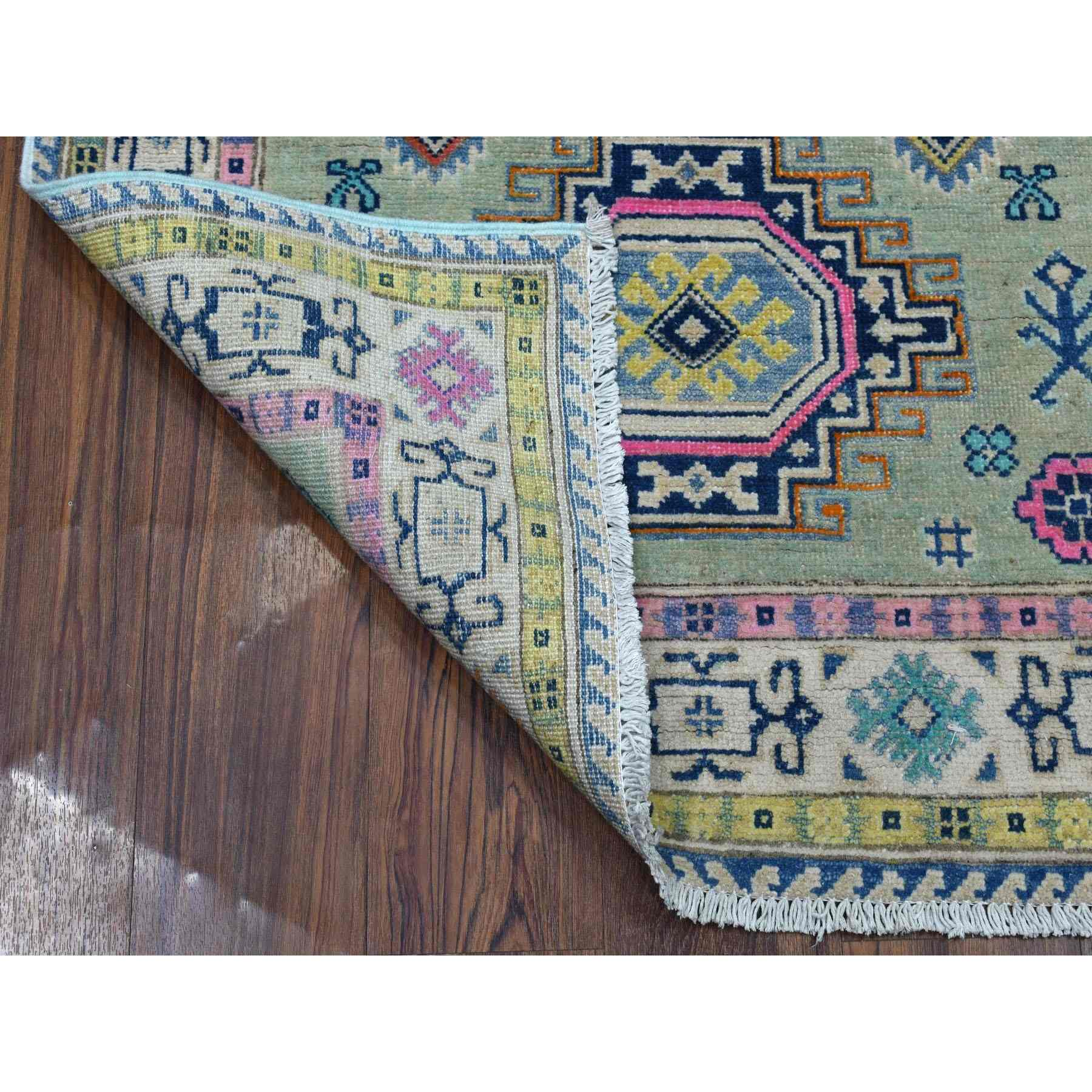 "3'3""x5' Colorful Gray Fusion Kazak Pure Wool Geometric Design Hand Knotted Oriental Rug"