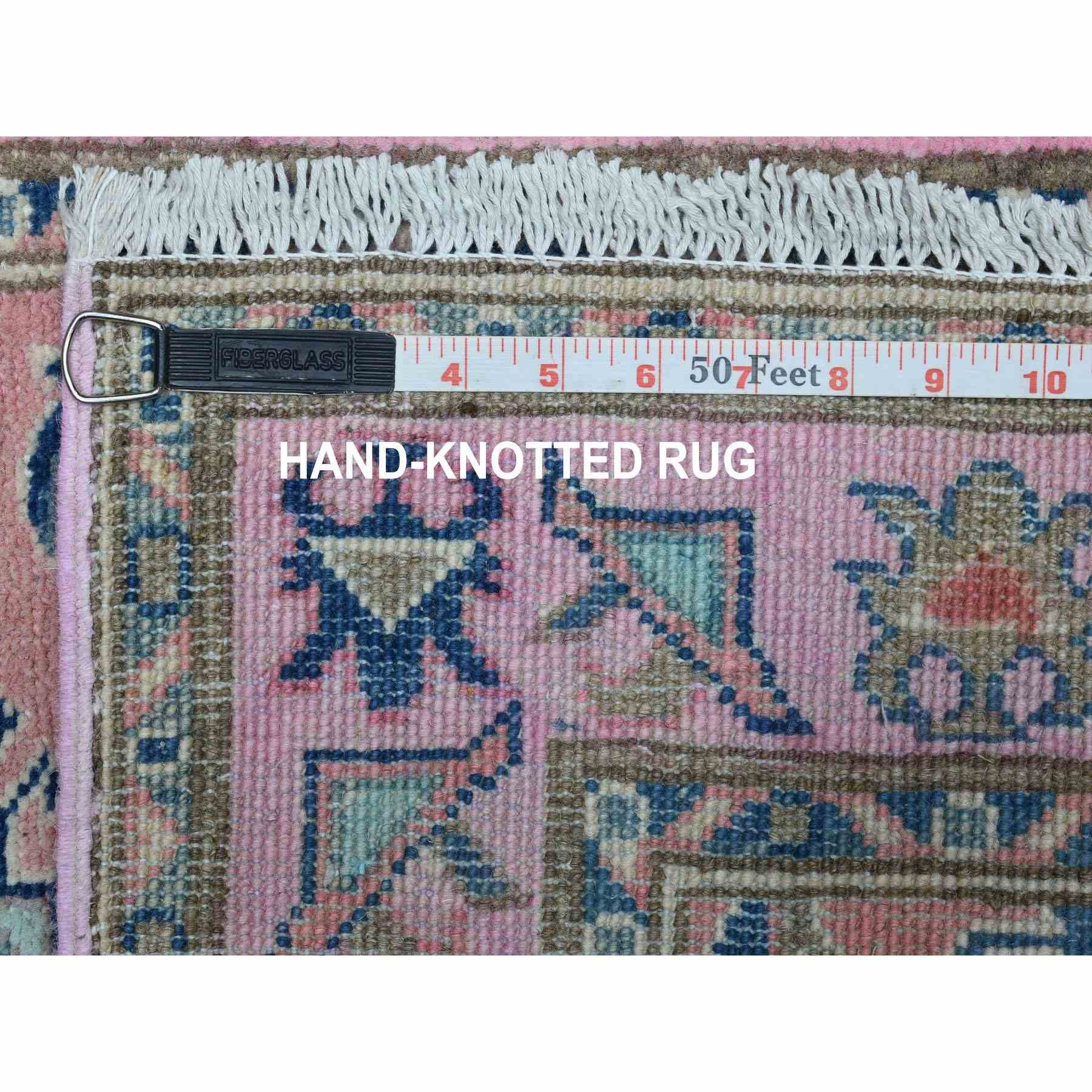 "2'6""x7'8"" Colorful Pink Fusion Kazak Pure Wool Geometric Design Runner Hand Knotted Oriental Rug"