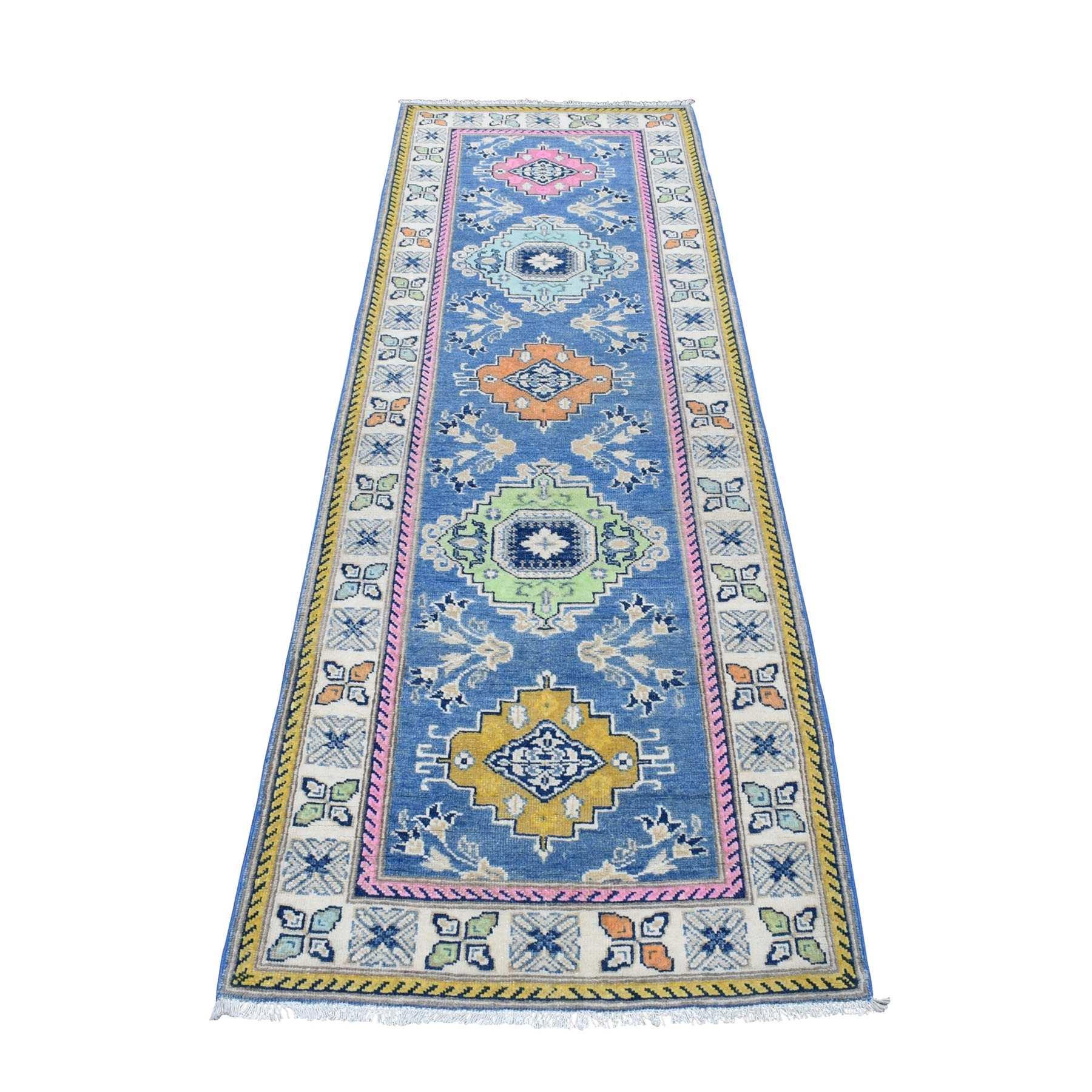 "2'7""x8' Colorful Blue Fusion Kazak Pure Wool Hand Knotted Runner Oriental Rug 54270"
