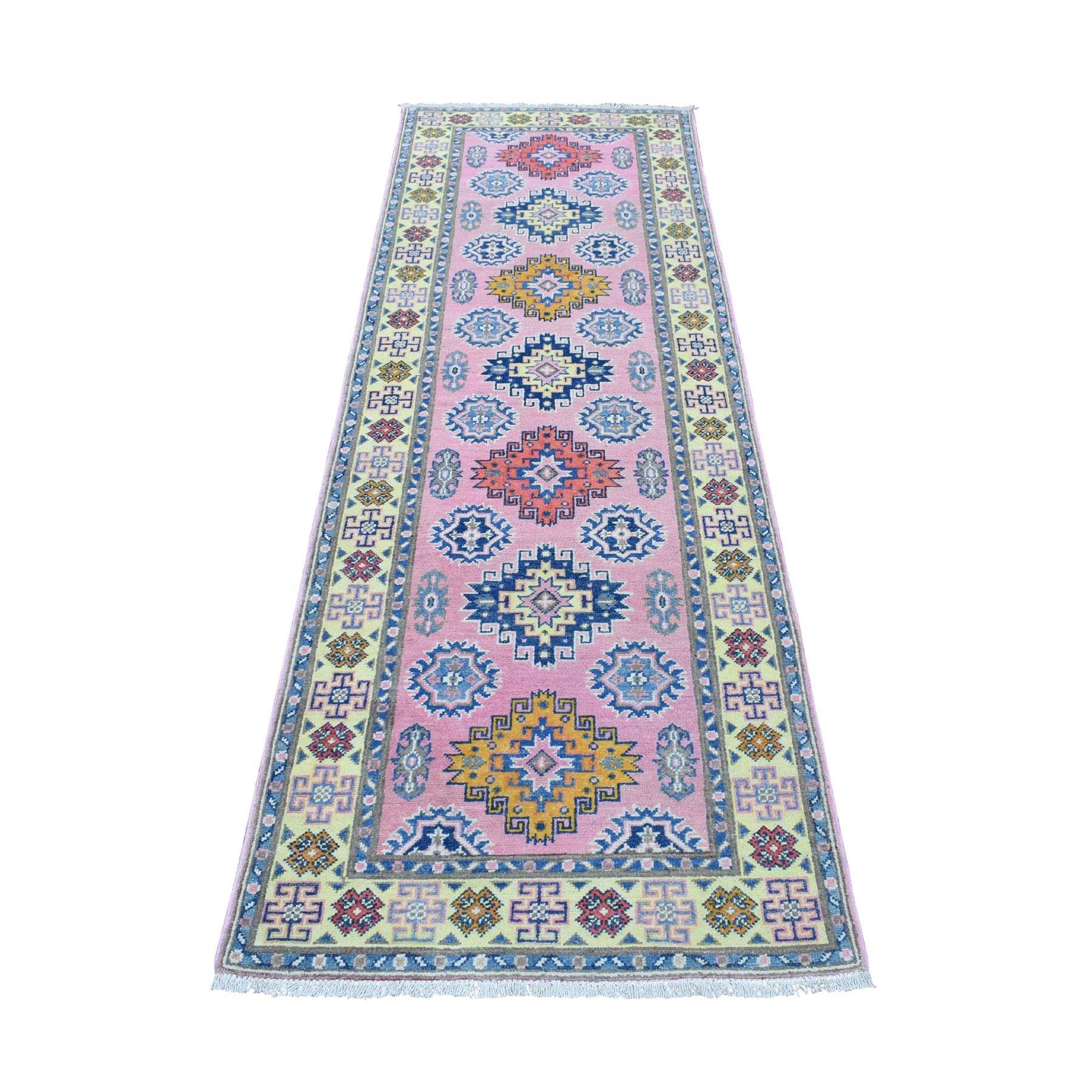 "2'7""x8' Colorful Pink Fusion Kazak Pure Wool Geometric Design Runner Hand Knotted Oriental Rug"