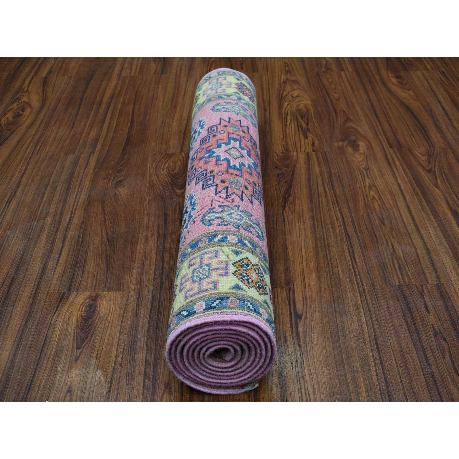"""2'7""""x8' Colorful Pink Fusion Kazak Pure Wool Geometric Design Runner Hand Knotted Oriental Rug"""