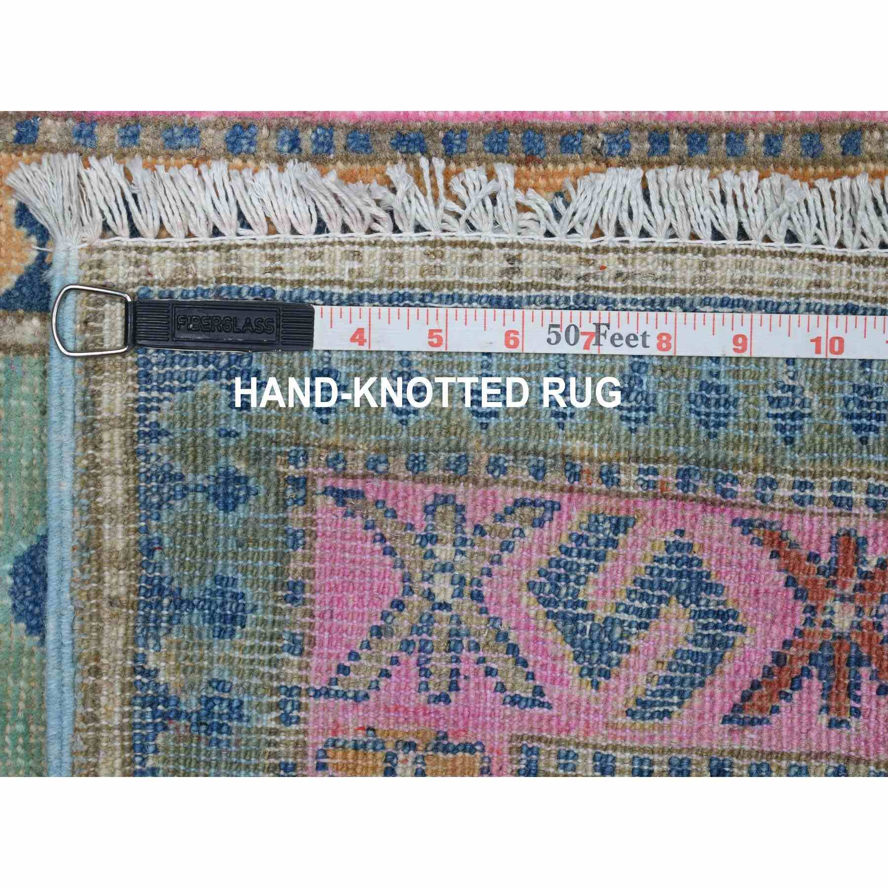 "2'9""x6'4""  Colorful Green Fusion Kazak Pure Wool Geometric Design Runner Hand Knotted Oriental Rug"