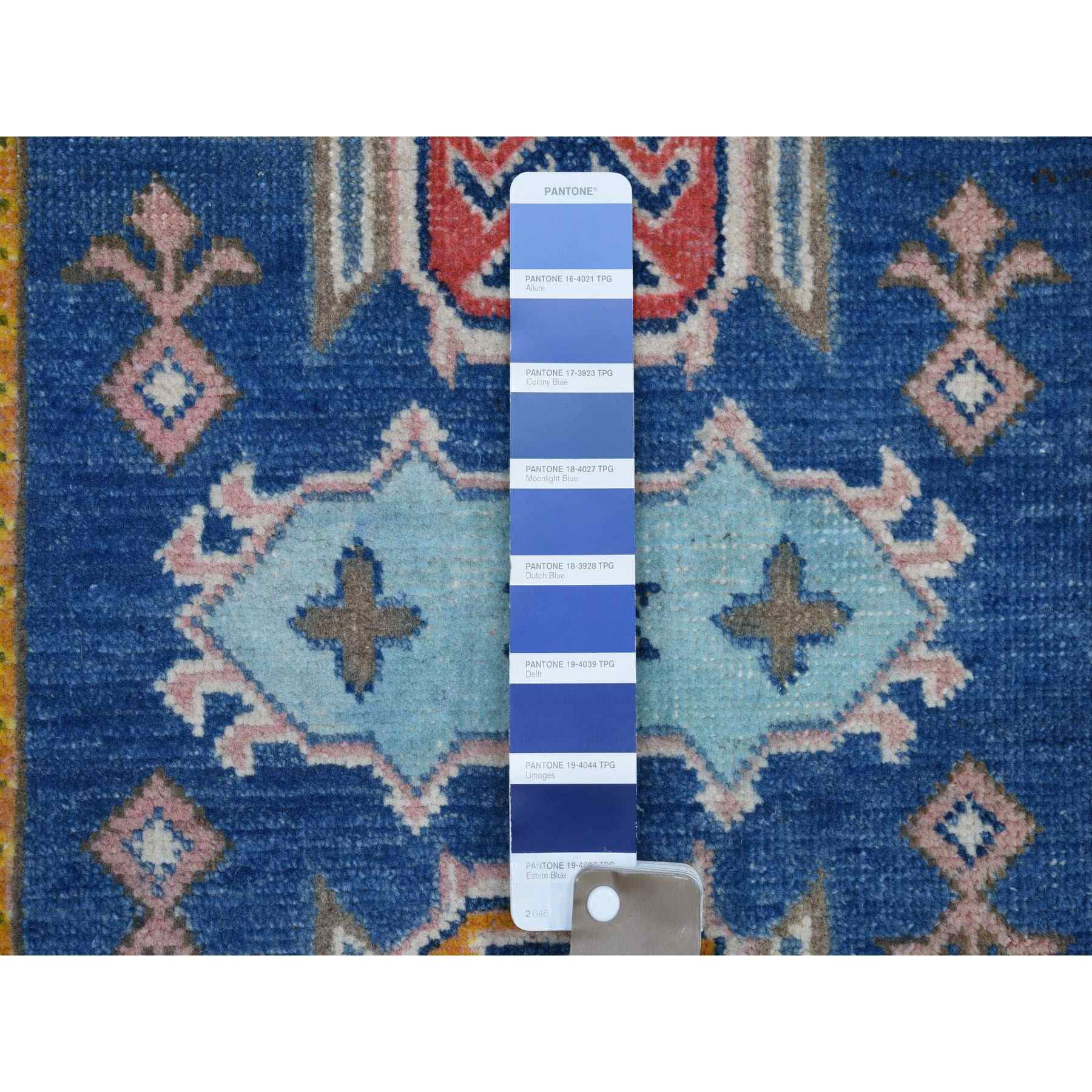 """2'x5'9"""" Colorful Blue Fusion Kazak Pure Wool Hand Knotted Runner Oriental Rug"""