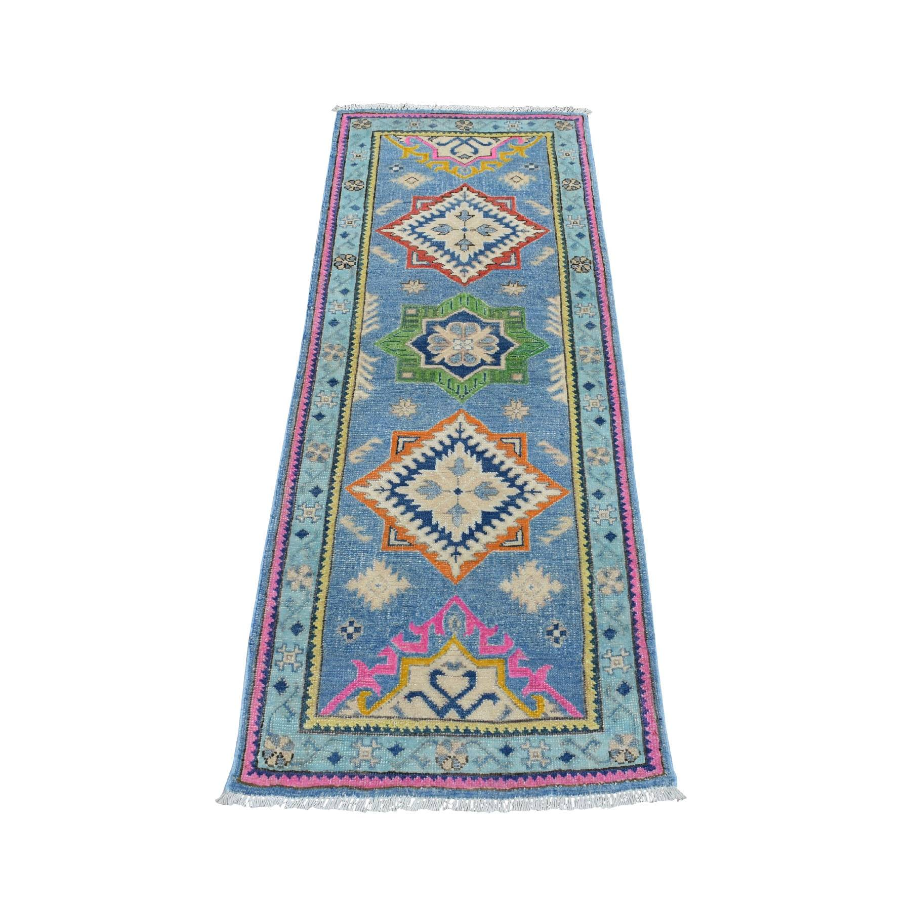 "2'1""x5'6""  Colorful Blue Fusion Kazak Pure Wool Hand Knotted Runner Oriental Rug 54274"