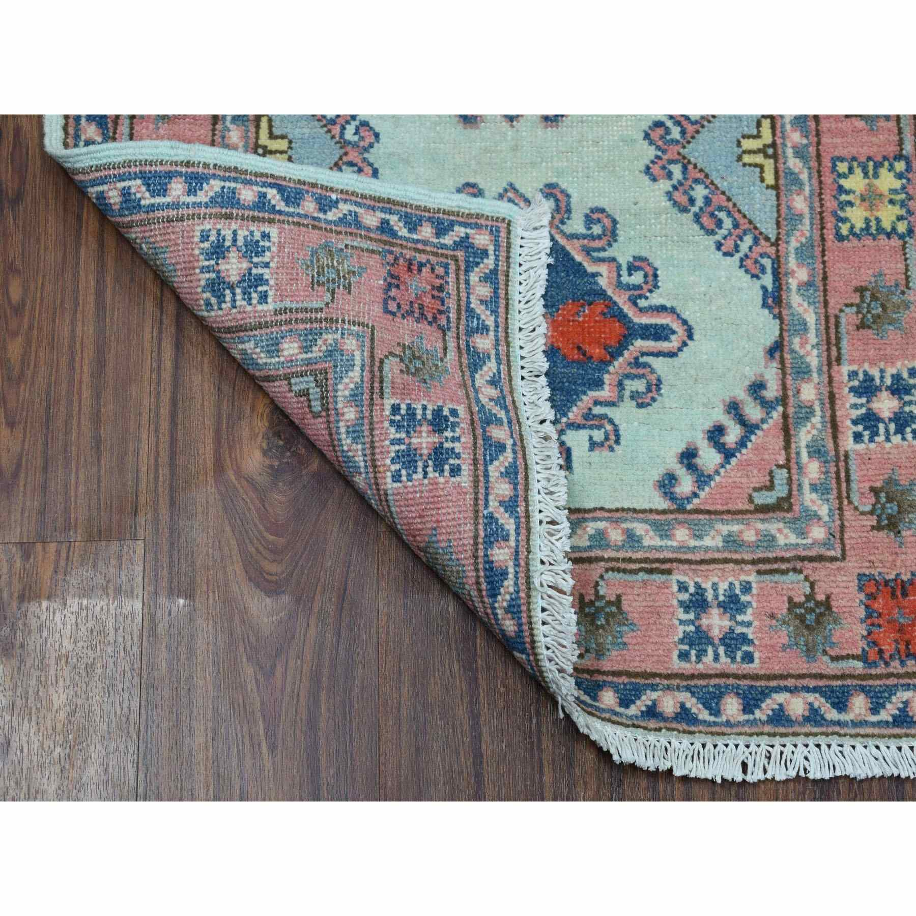 """2'2""""x6'2"""" Colorful Aqua Blue Fusion Kazak Pure Wool Hand Knotted Runner Rug"""