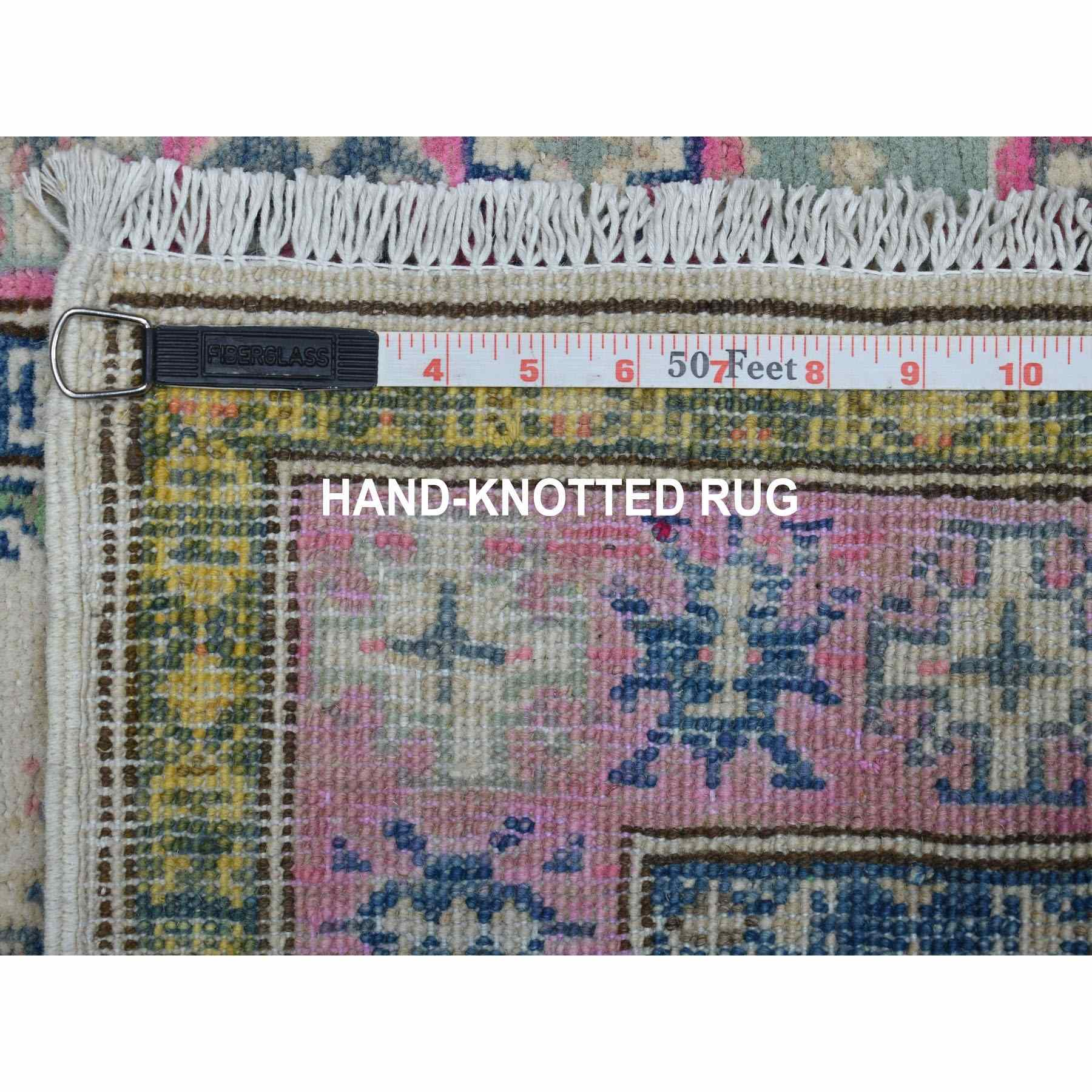"""2'1""""x5'9"""" Colorful Ivory Fusion Kazak Pure Wool Hand Knotted Runner Oriental Rug"""