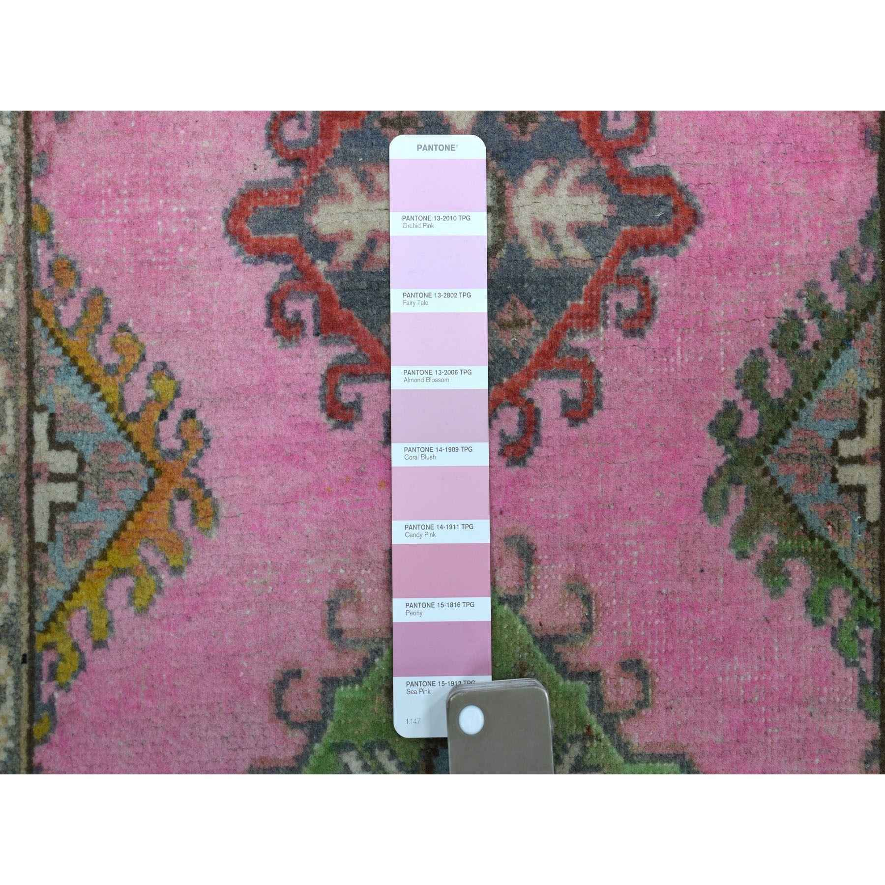 2-x6-1  Colorful Pink Fusion Kazak Pure Wool Geometric Design Runner Hand Knotted Oriental Rug