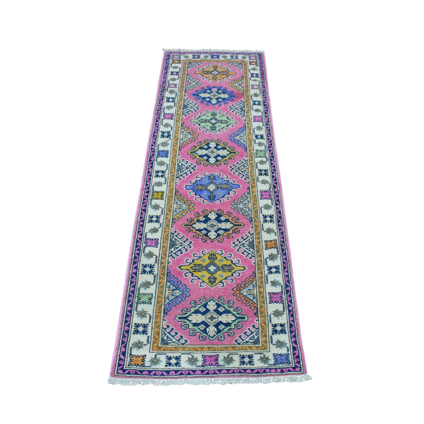 "2'X6'4"" Colorful Pink Fusion Kazak Pure Wool Geometric Design Runner Hand Knotted Oriental Rug moaedb78"