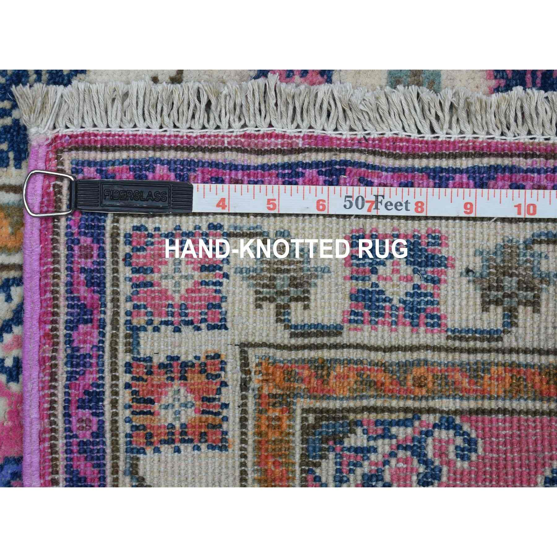 """2'x6'4"""" Colorful Pink Fusion Kazak Pure Wool Geometric Design Runner Hand Knotted Oriental Rug"""