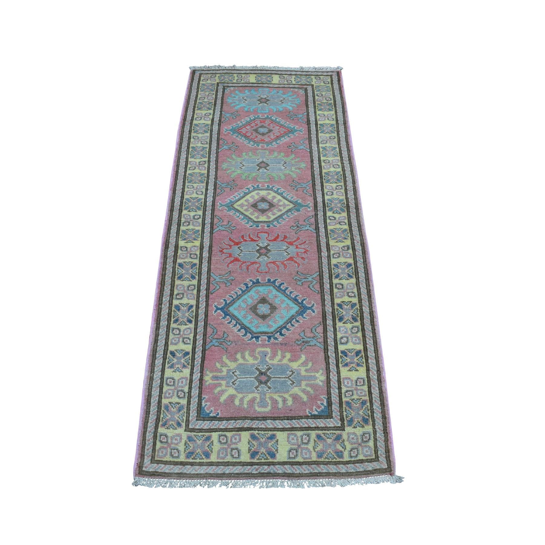 """2'1""""x5'5""""  Colorful Pink Fusion Kazak Pure Wool Geometric Design Runner Hand Knotted Oriental Rug 54279"""