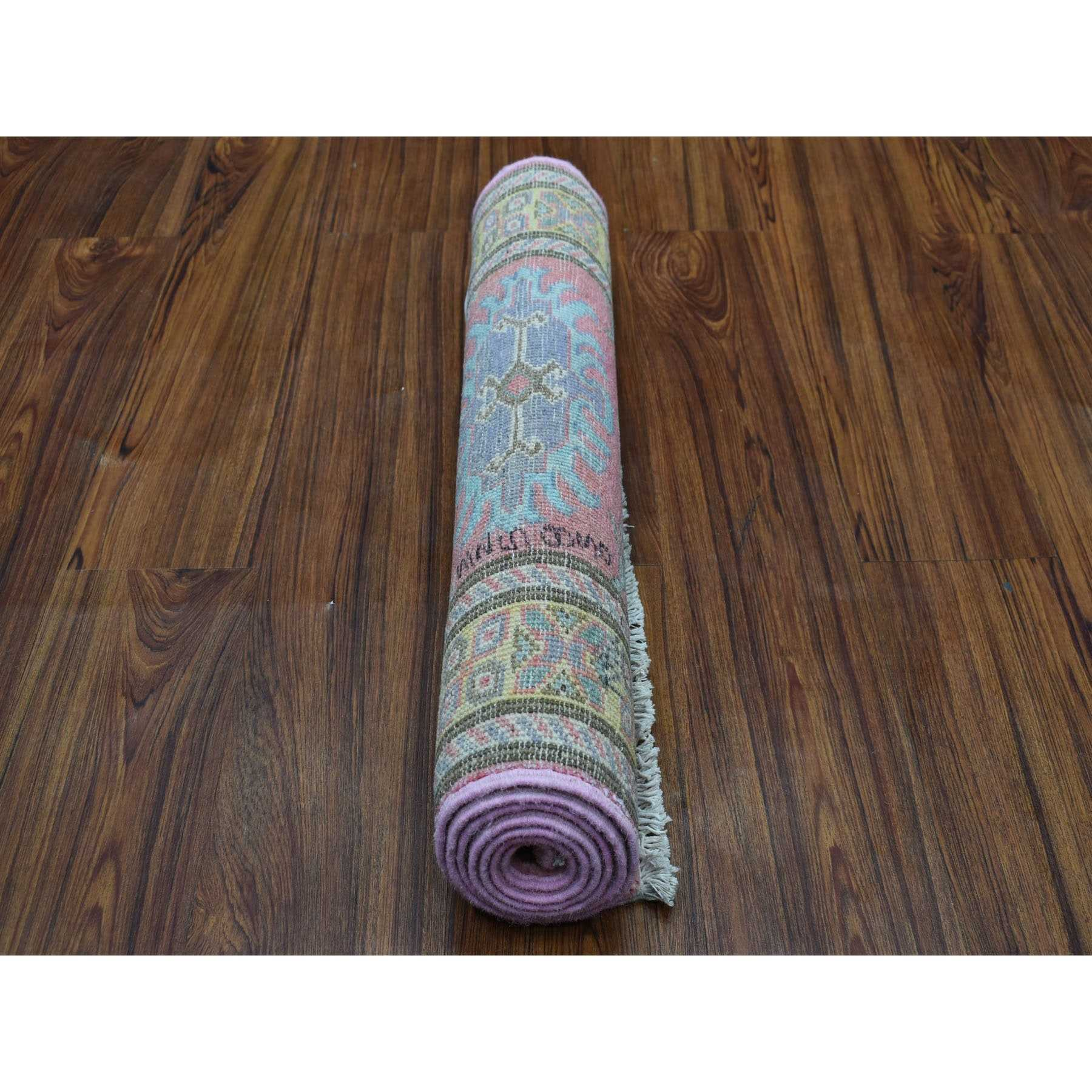 """2'1""""x5'5""""  Colorful Pink Fusion Kazak Pure Wool Geometric Design Runner Hand Knotted Oriental Rug"""