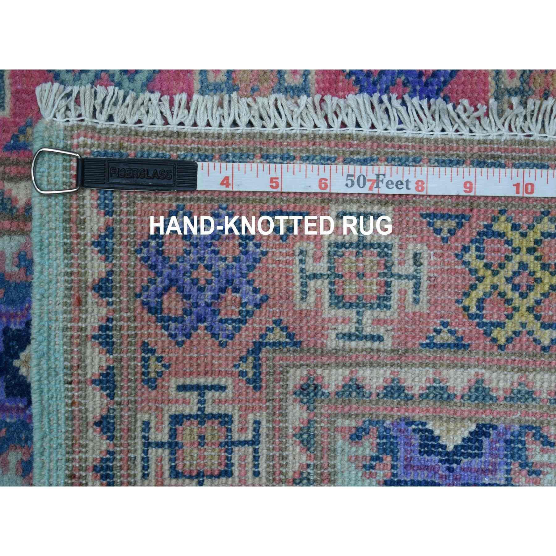 "2'2""x5'10"" Colorful Aqua Blue Fusion Kazak Pure Wool Hand Knotted Runner Oriental Rug"