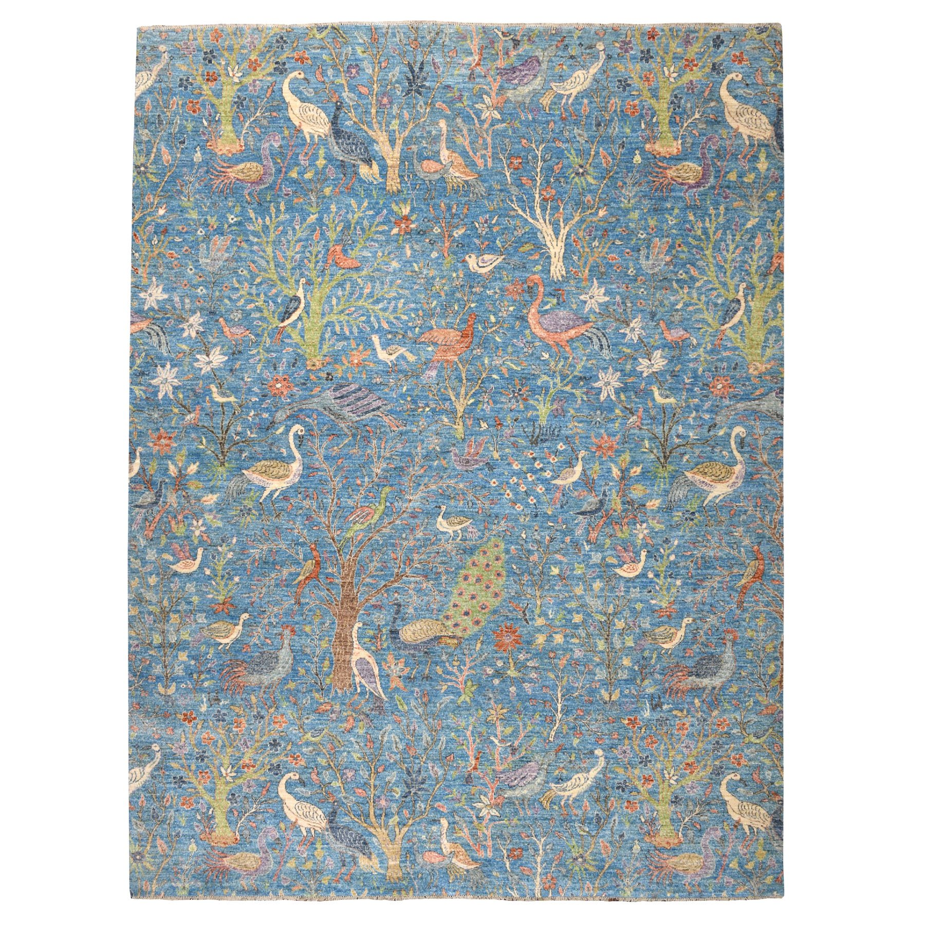 9'x12' Blue Birds of Paradise Peshawar Pure Wool Hand Knotted Oriental Rug