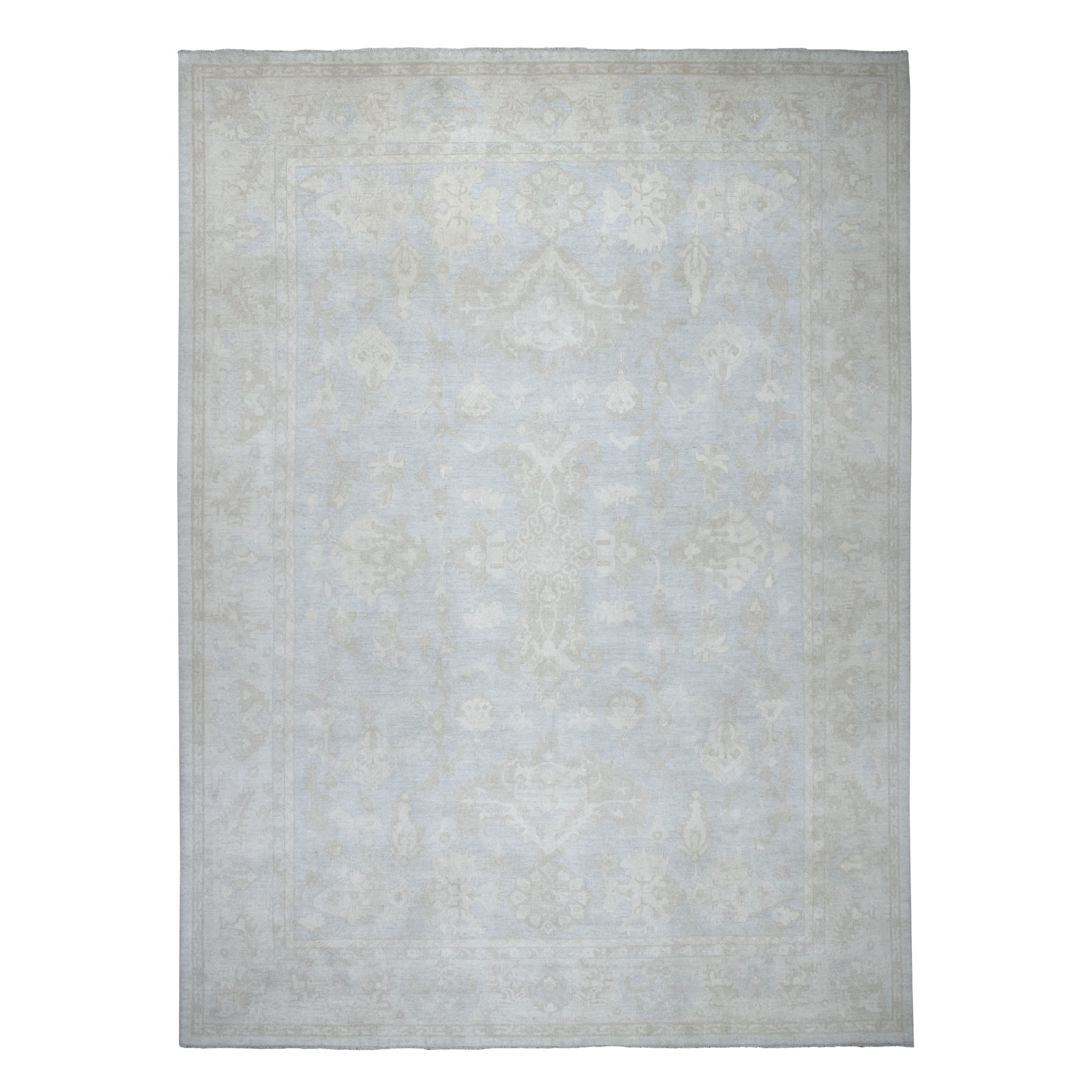 "11'6""x14'6"" Oversized White Wash Peshawar Pure Wool Hand Knotted Oriental Rug"