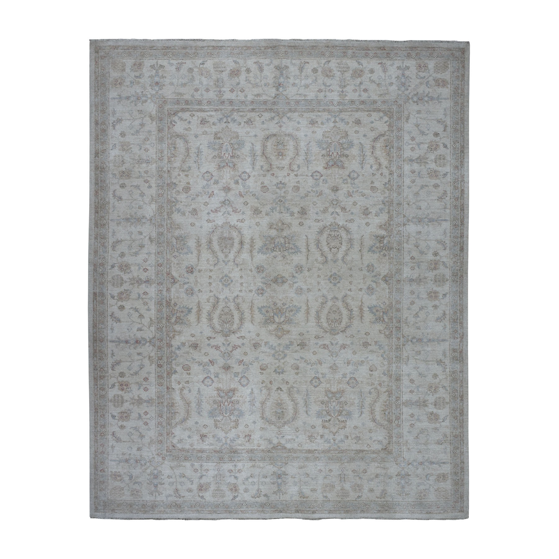 "8'1""x10' White Wash Peshawar Pure Wool Hand Knotted Oriental Rug"