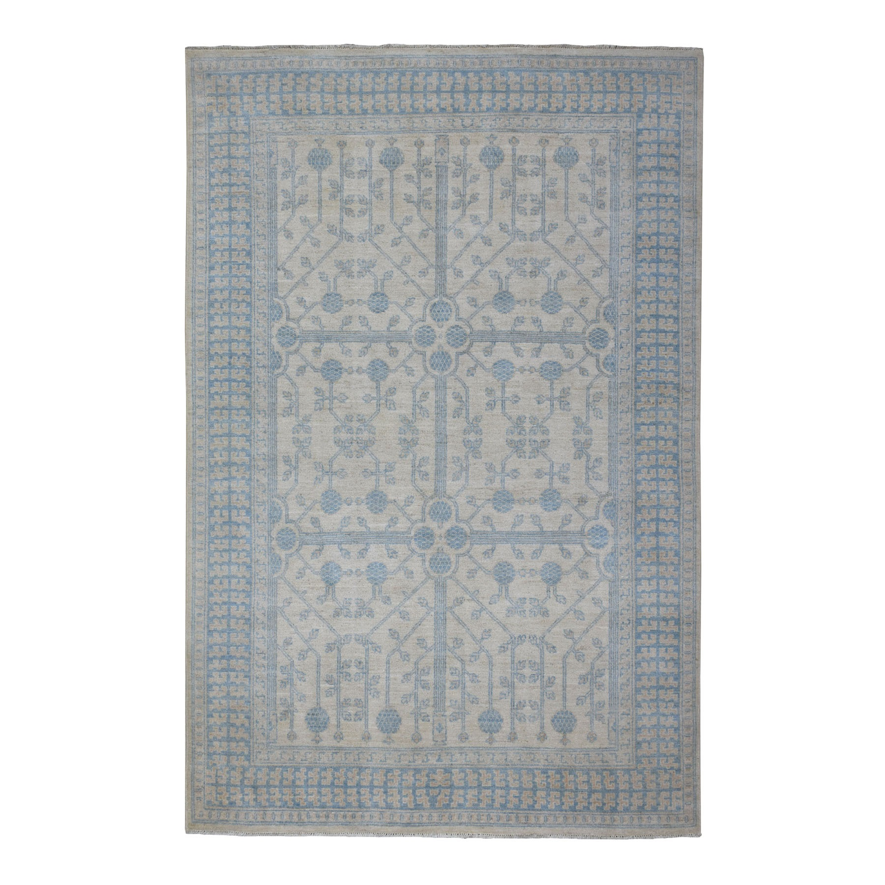 "5'10""x9'1"" White Wash Khotan with Pomegranate Garden Design Hand Knotted Oriental Rug"