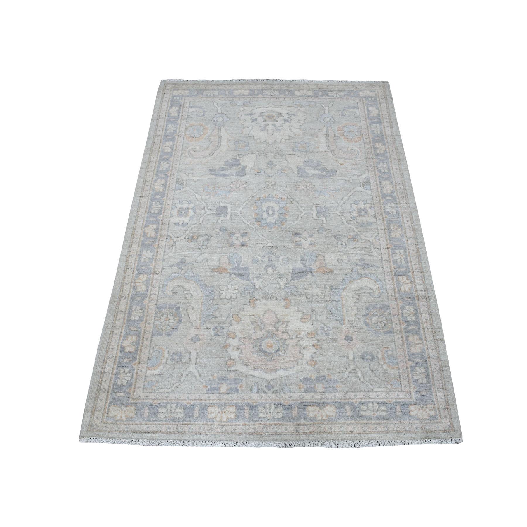 "3'1""X5'  White Wash Peshawar Mahal Design Pure Wool Hand Knotted Oriental Rug moaedb9b"
