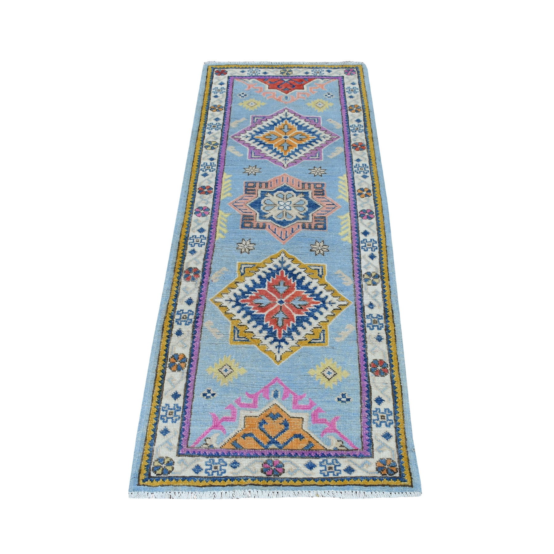 "2'1""x5'7"" Colorful Blue Fusion Kazak Pure Wool Hand Knotted Runner Oriental Rug 54293"