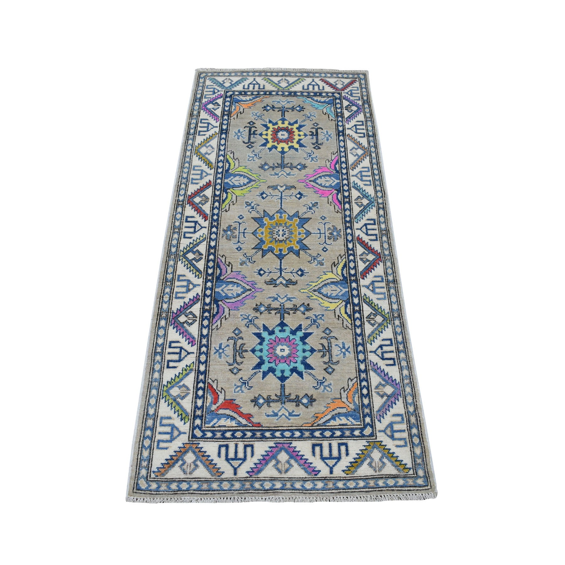"""2'8""""X5'9"""" Colorful Gray Fusion Kazak Pure Wool Hand Knotted Runner Oriental Rug moaedb9d"""