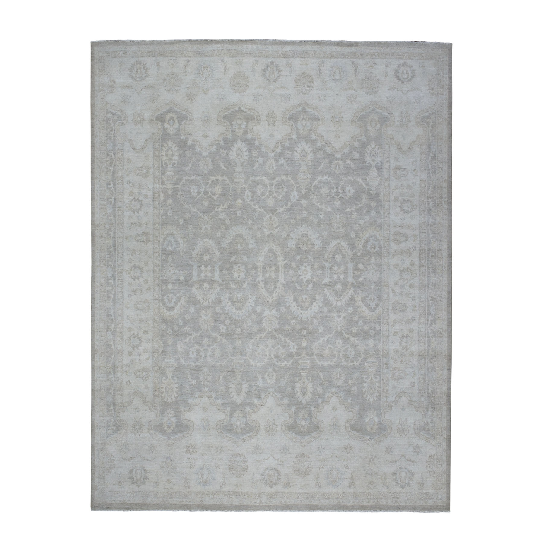 "8'1""X9'10"" White Wash Peshawar Mahal Design Pure Wool Hand Knotted Oriental Rug moaedb9e"