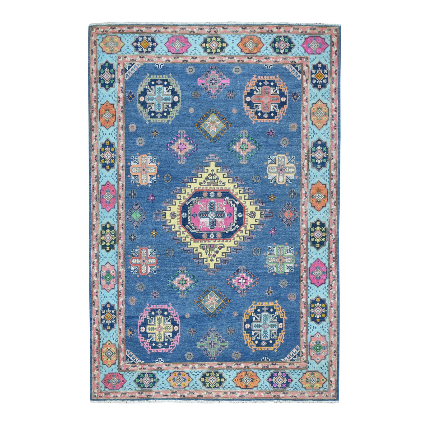 "6'x9'1"" Colorful Blue Fusion Kazak Pure Wool Geometric Design Hand Knotted Oriental Rug 54298"