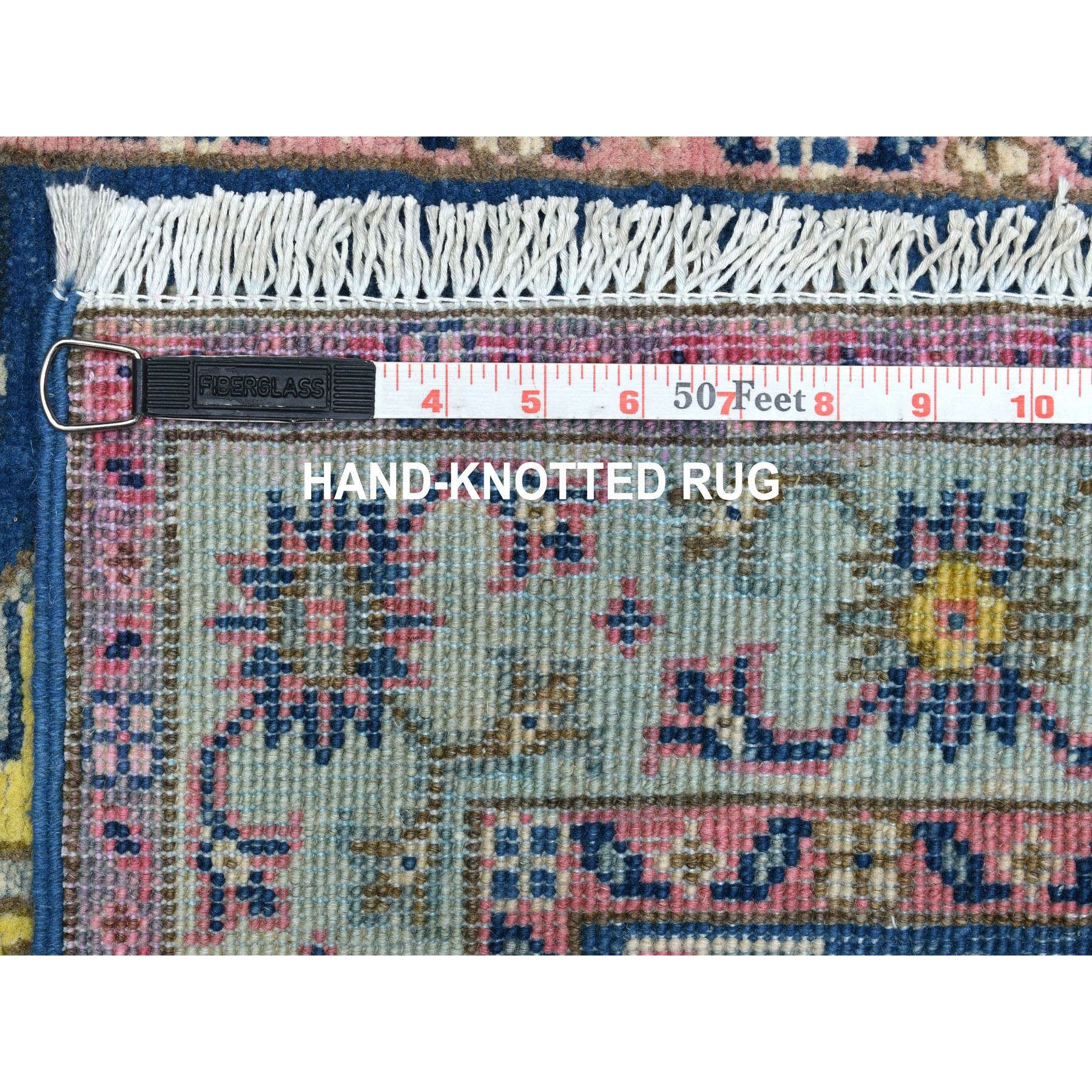 """2'6""""x9'6"""" Colorful Blue Fusion Kazak Pure Wool Hand Knotted Runner Oriental Rug"""