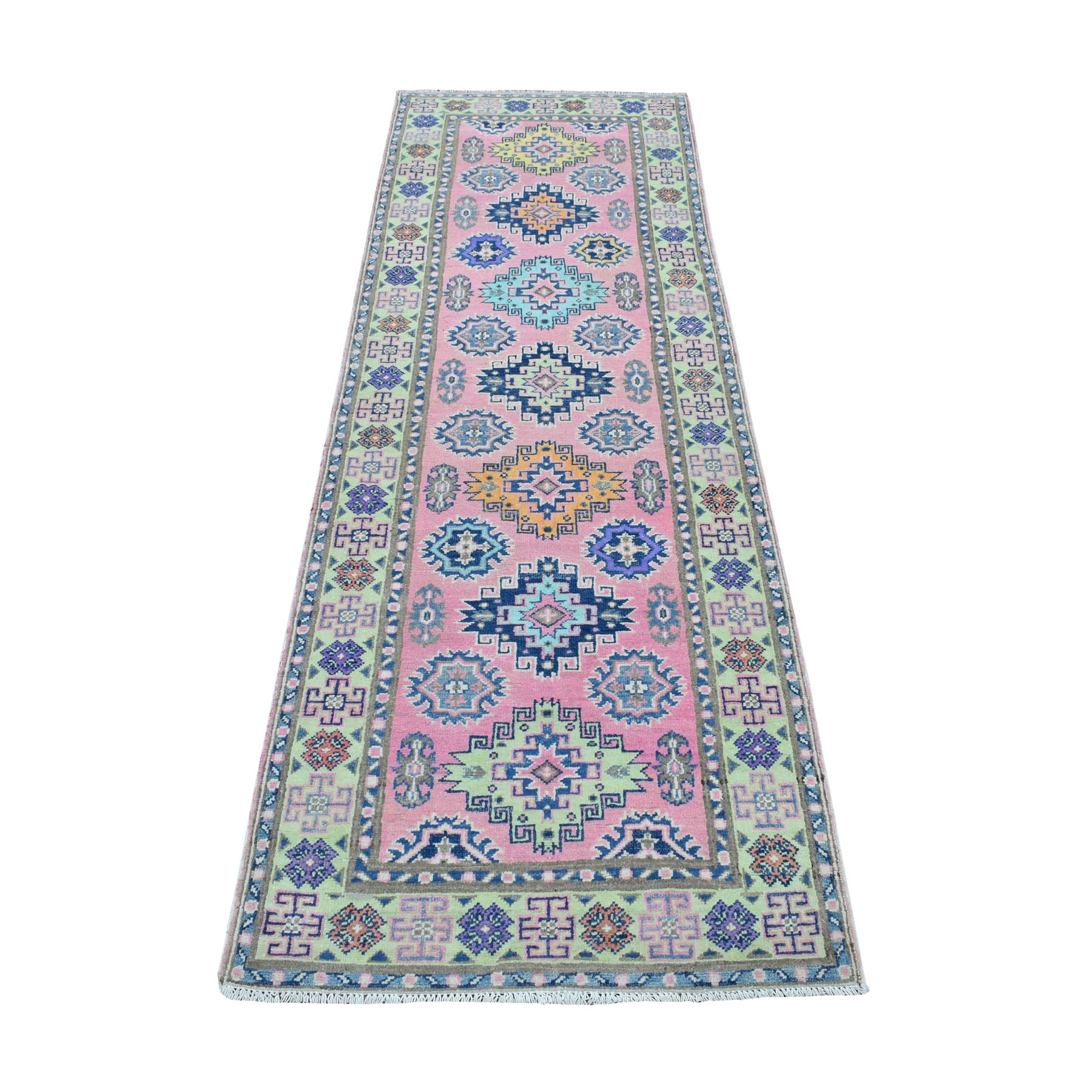 "2'6""X8' Colorful Pink Fusion Kazak Pure Wool Geometric Design Runner Hand Knotted Oriental Rug moaedc00"