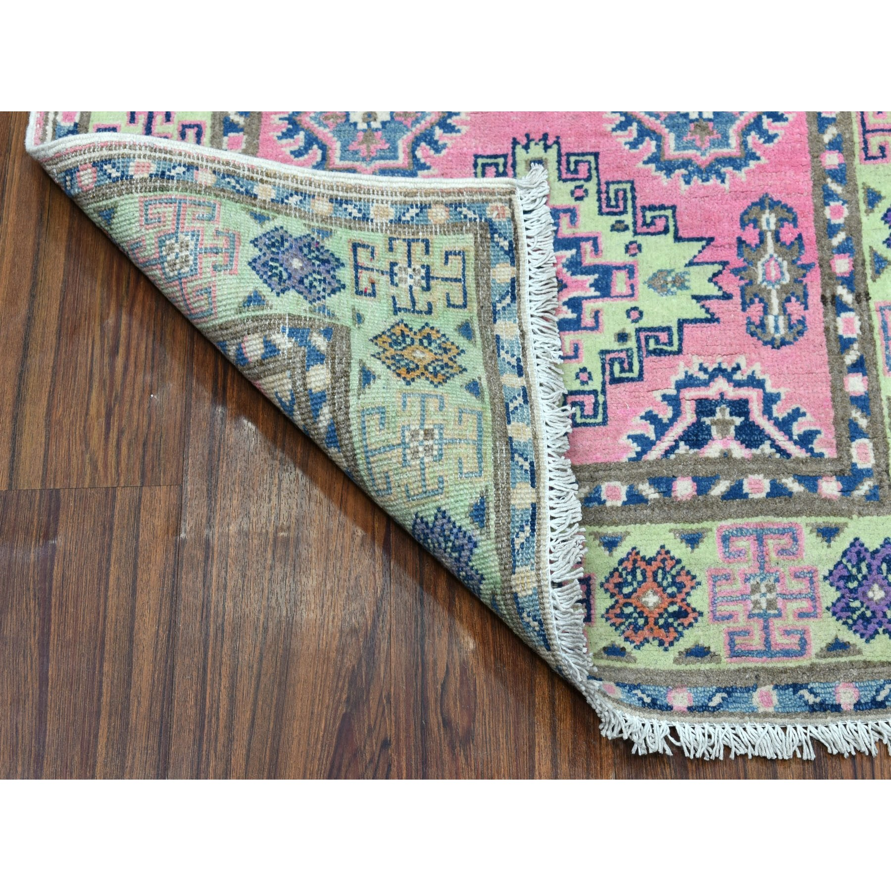 "2'6""x8' Colorful Pink Fusion Kazak Pure Wool Geometric Design Runner Hand Knotted Oriental Rug"