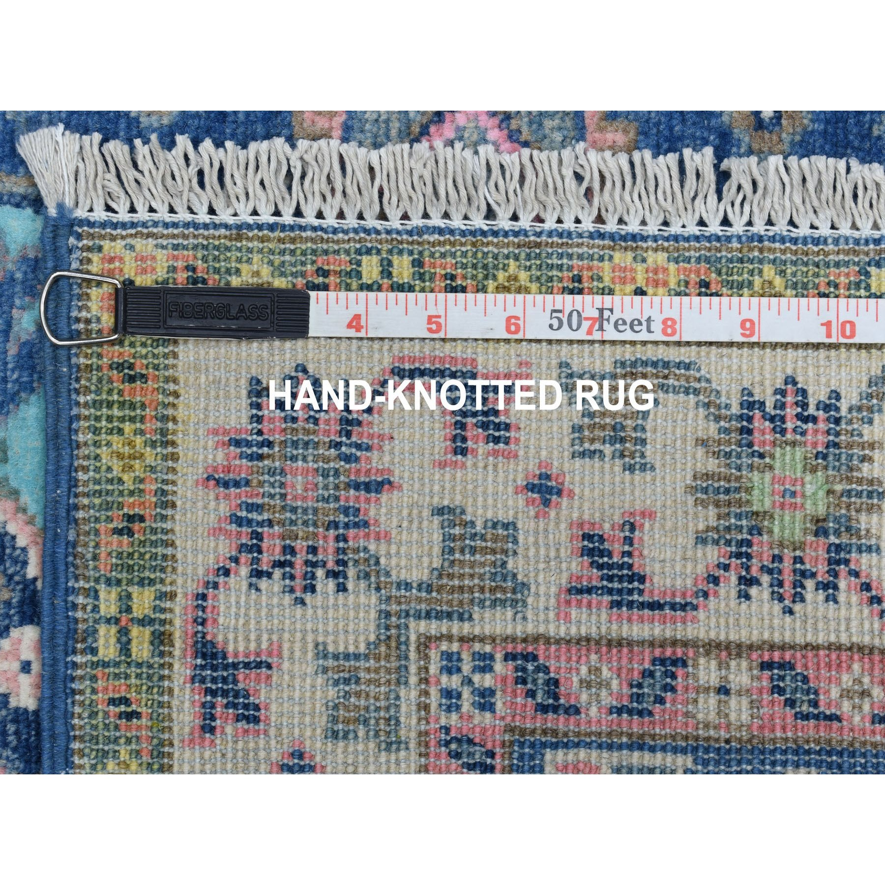 """2'7""""x10'1"""" Colorful Blue Fusion Kazak Pure Wool Hand Knotted Runner Oriental Rug"""
