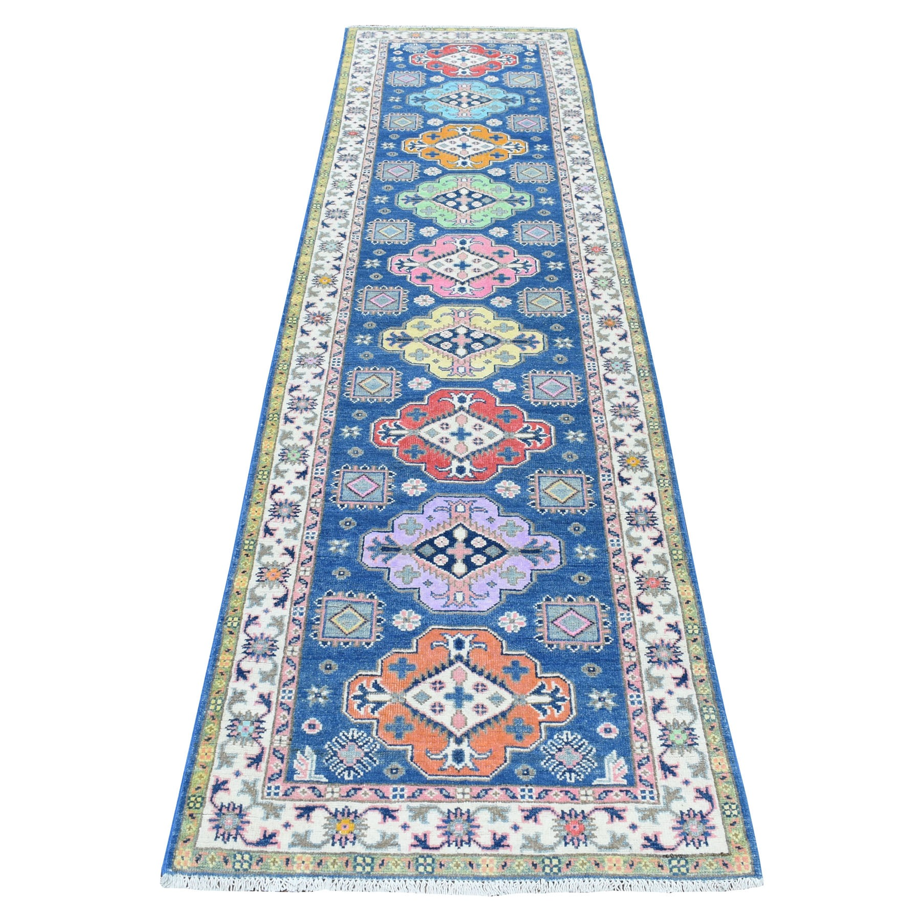 """2'8""""x10' Colorful Blue Fusion Kazak Pure Wool Hand Knotted Runner Oriental Rug"""