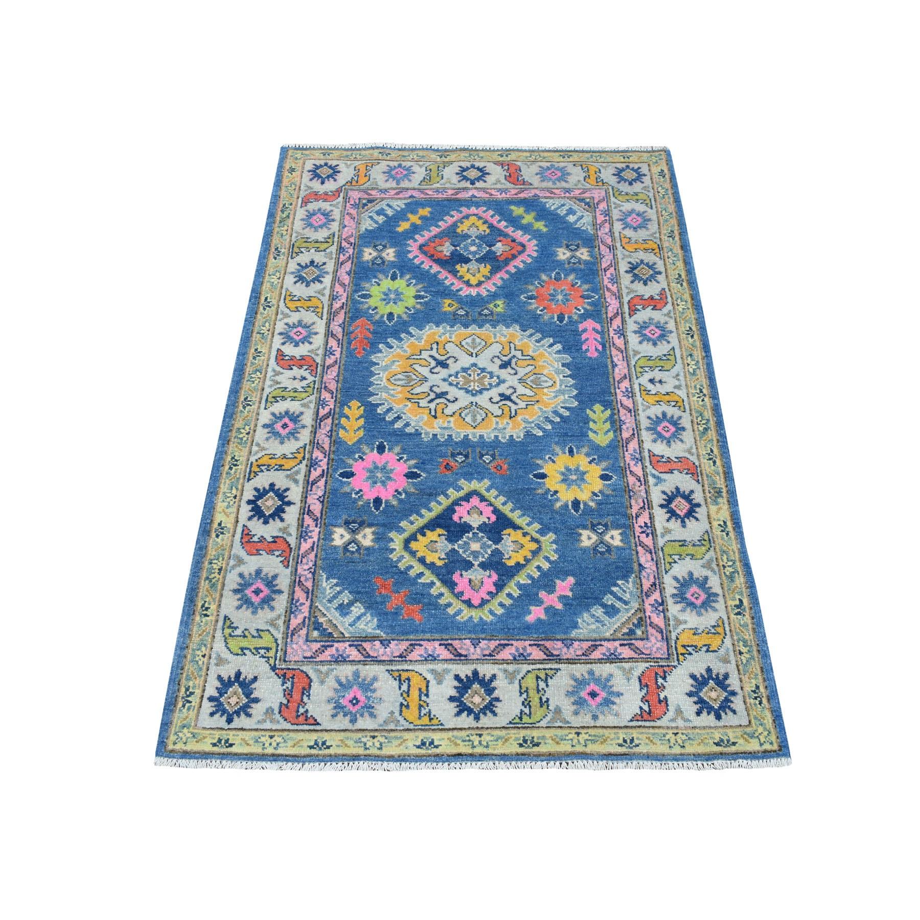 "3'3""X5' Colorful Blue Fusion Kazak Pure Wool Geometric Design Hand Knotted Oriental Rug moaedc0c"