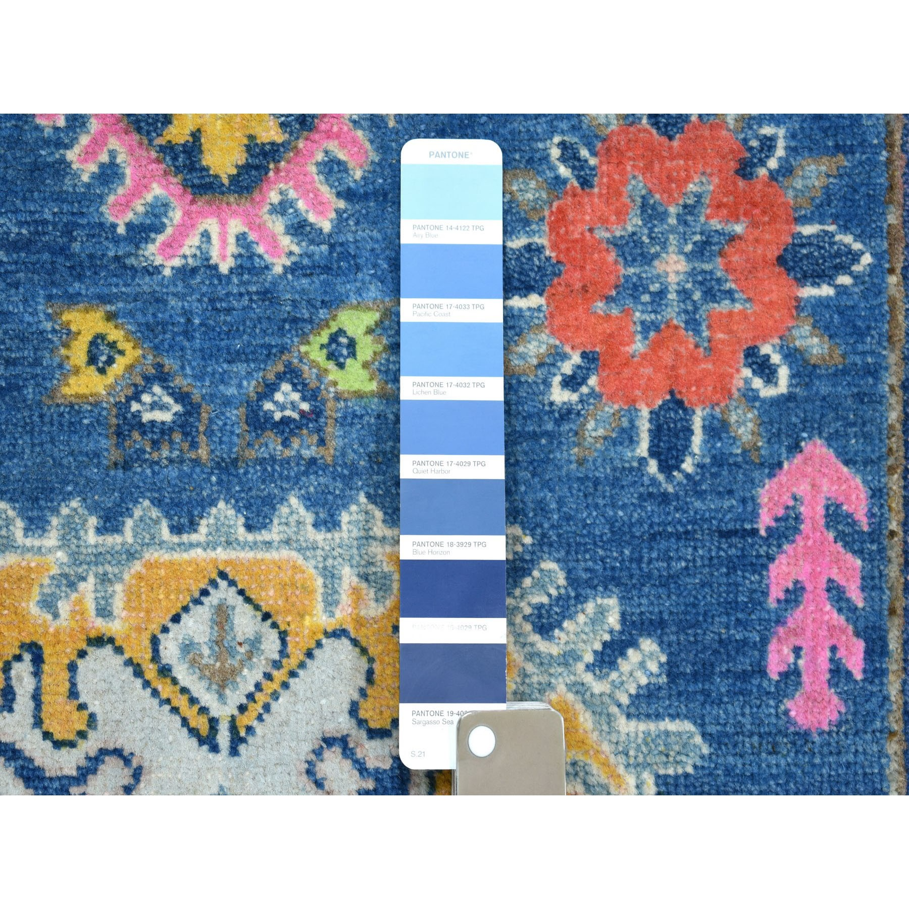 """3'3""""x5' Colorful Blue Fusion Kazak Pure Wool Geometric Design Hand Knotted Oriental Rug"""