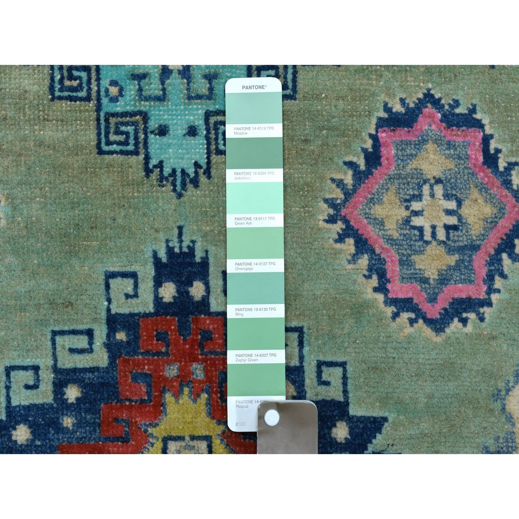 """3'5""""x4'8"""" Colorful Green Fusion Kazak Pure Wool Hand Knotted Oriental Rug"""