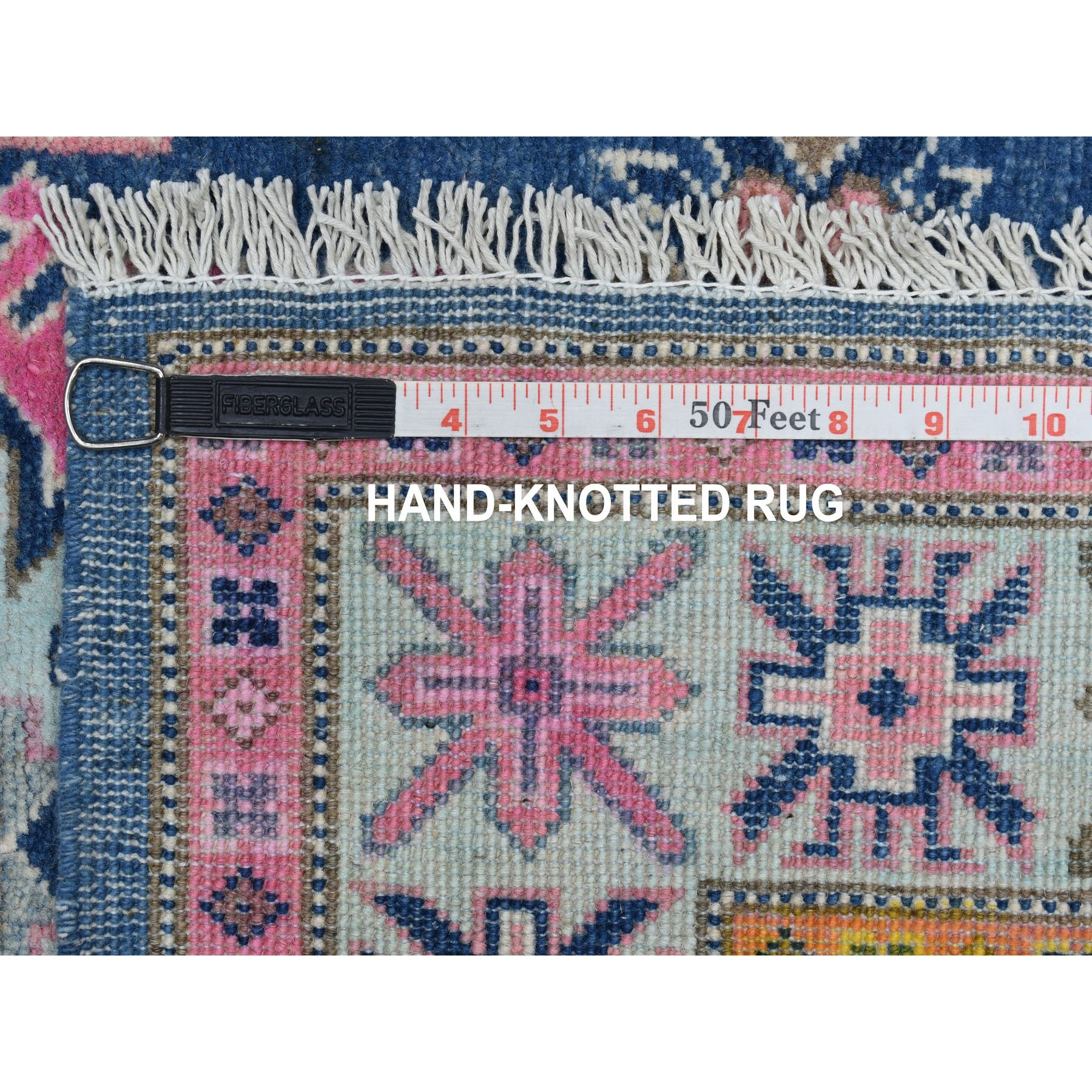 """3'2""""x4'5"""" Colorful Blue Fusion Kazak Pure Wool Geometric Design Hand Knotted Oriental Rug"""