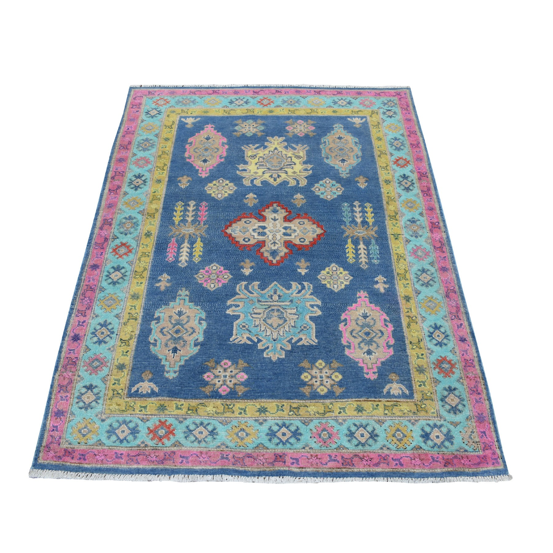 """4'x5'6"""" Colorful Blue Fusion Kazak Pure Wool Geometric Design Hand Knotted Oriental Rug 54306"""