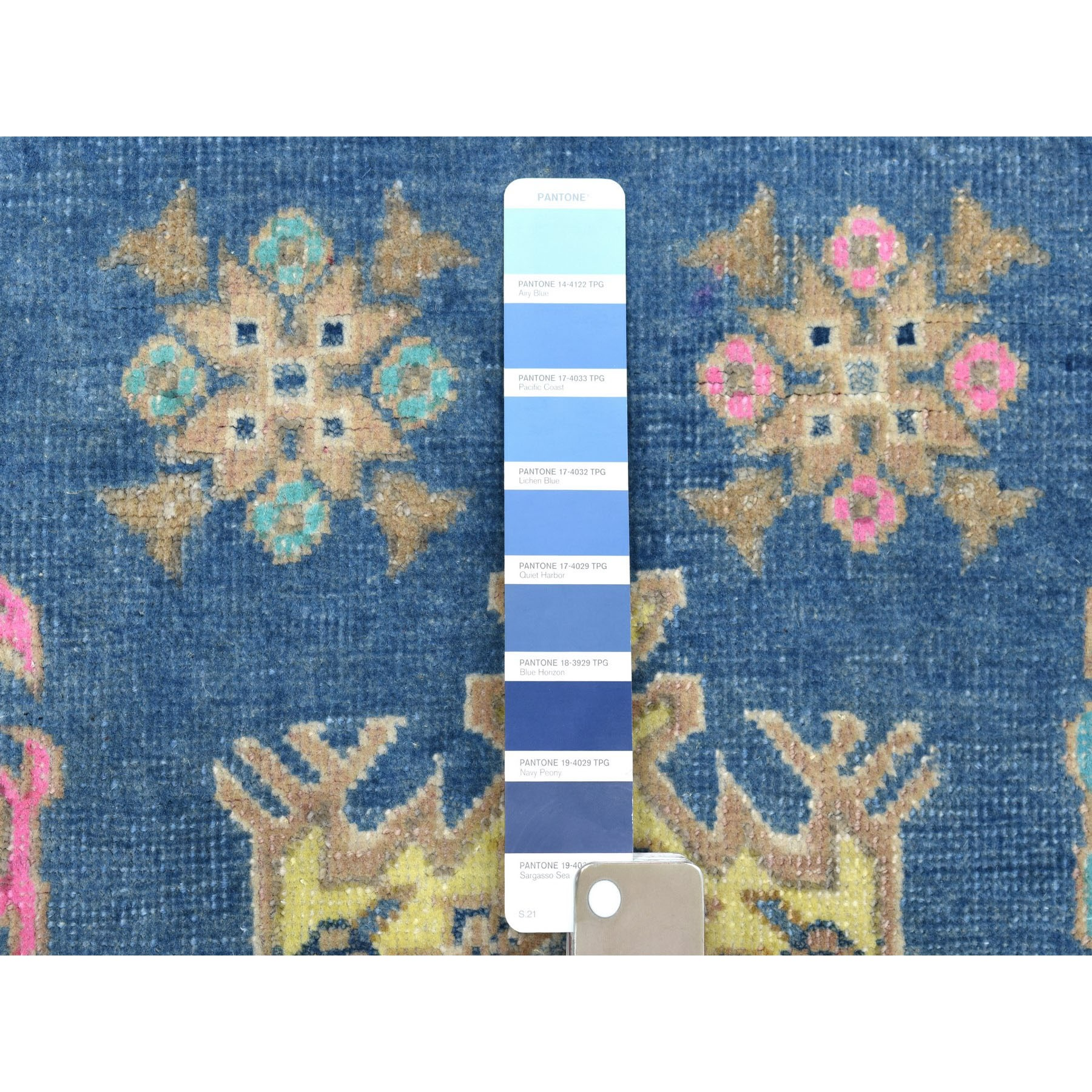 """4'x5'6"""" Colorful Blue Fusion Kazak Pure Wool Geometric Design Hand Knotted Oriental Rug"""