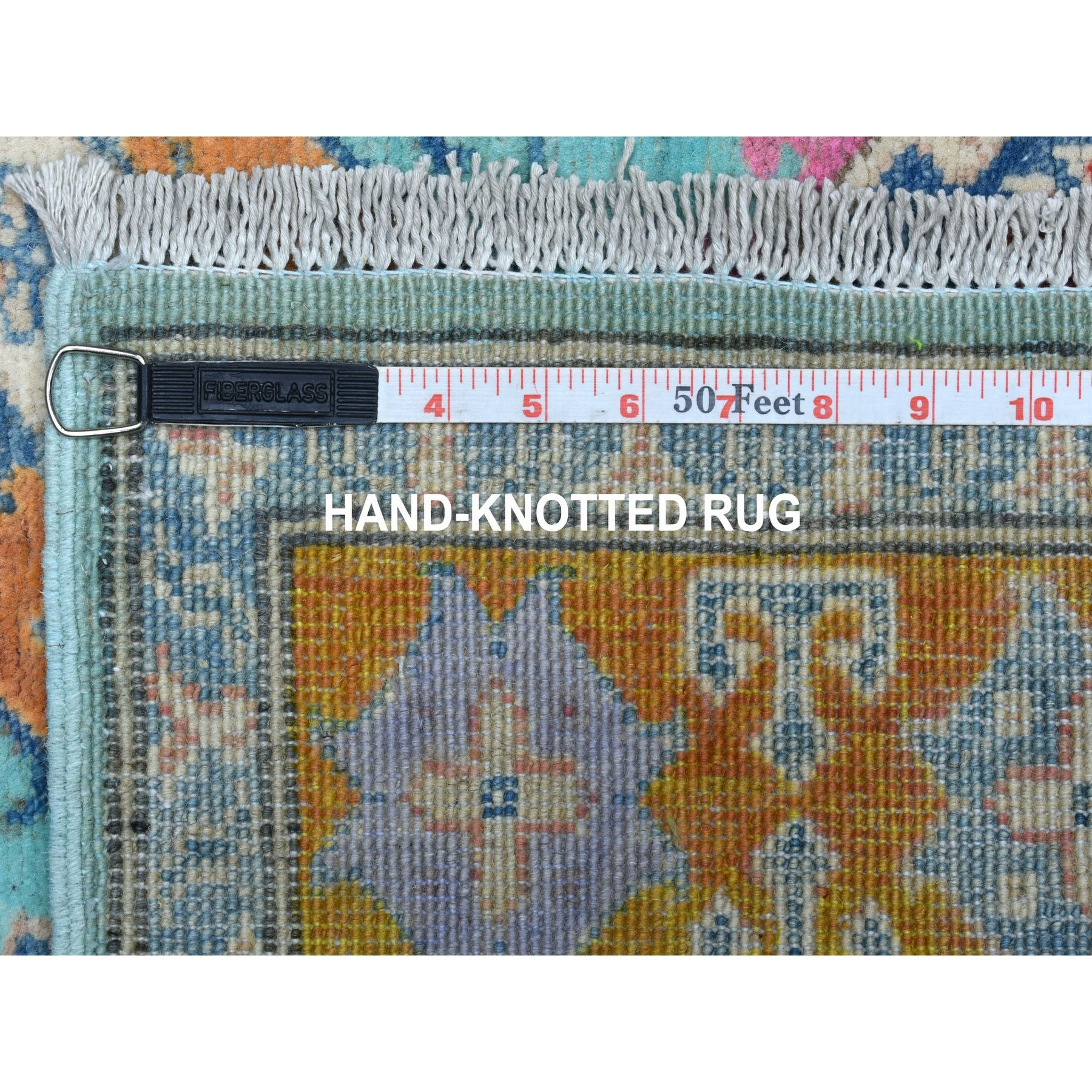 "3'10""x6' Colorful Aqua Blue Fusion Kazak Pure Wool Hand Knotted Runner Oriental Rug"