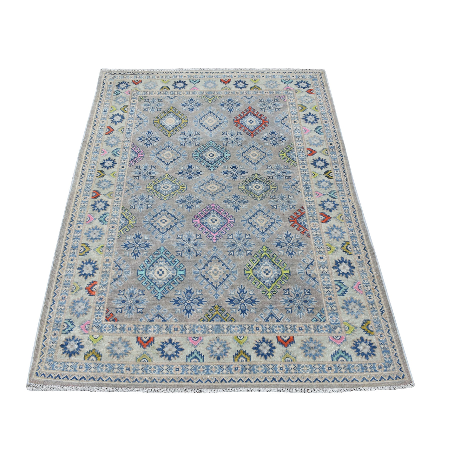 "3'9""X5'10"" Colorful Gray Fusion Kazak Pure Wool Geometric Design Hand Knotted Oriental Rug moaedc08"