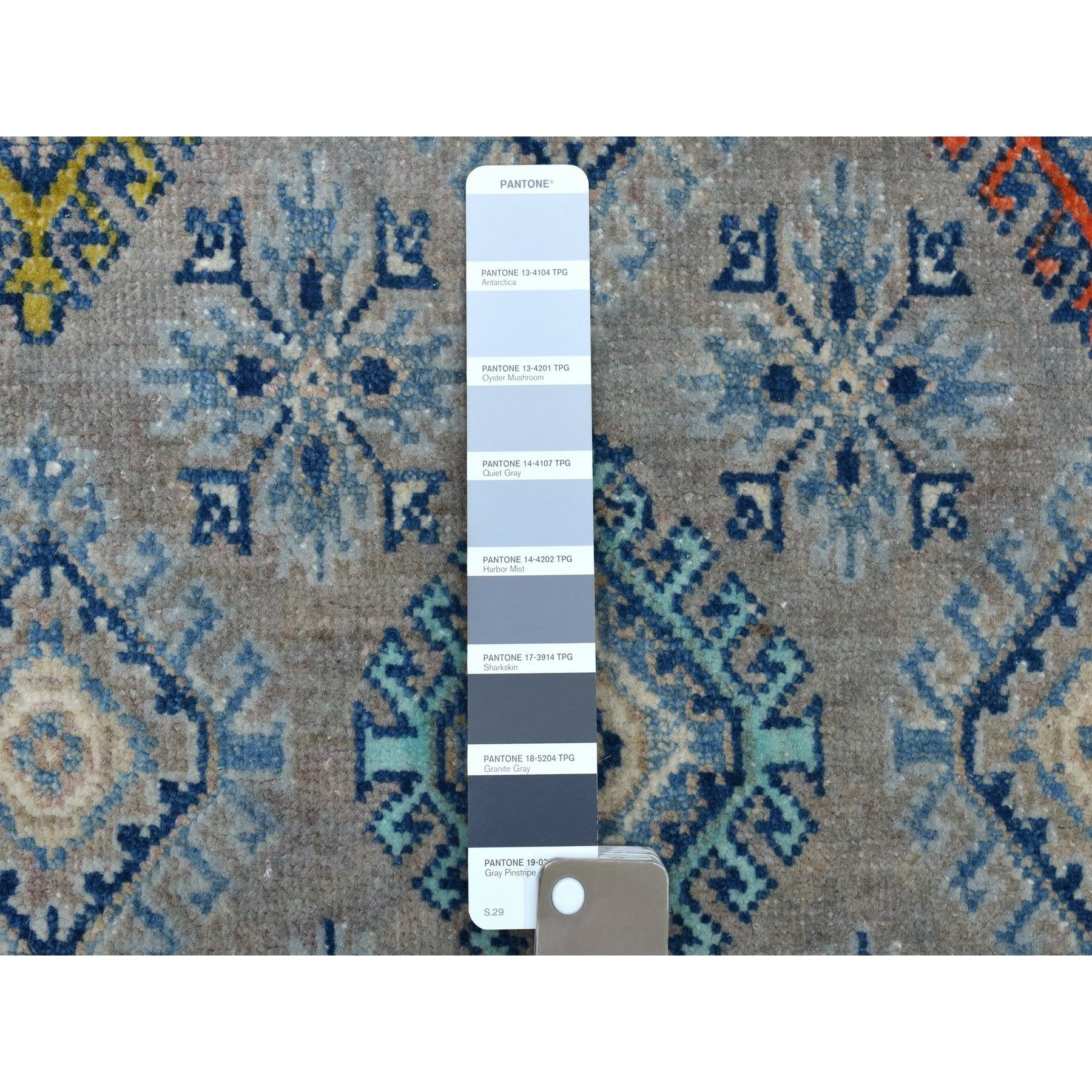 """3'9""""x5'10"""" Colorful Gray Fusion Kazak Pure Wool Geometric Design Hand Knotted Oriental Rug"""