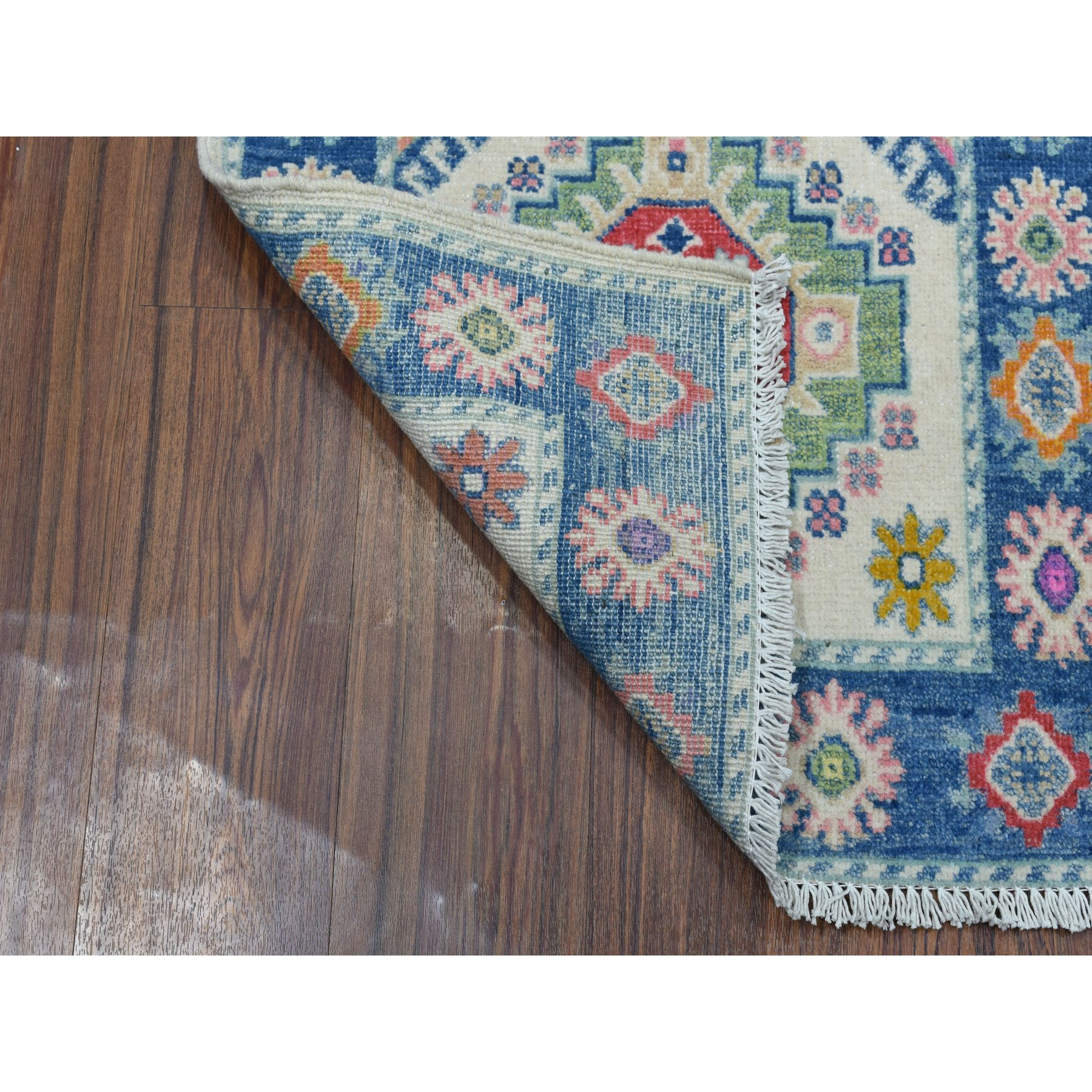 2'x3' Colorful Ivory Fusion Kazak Pure Wool Hand Knotted Oriental Rug