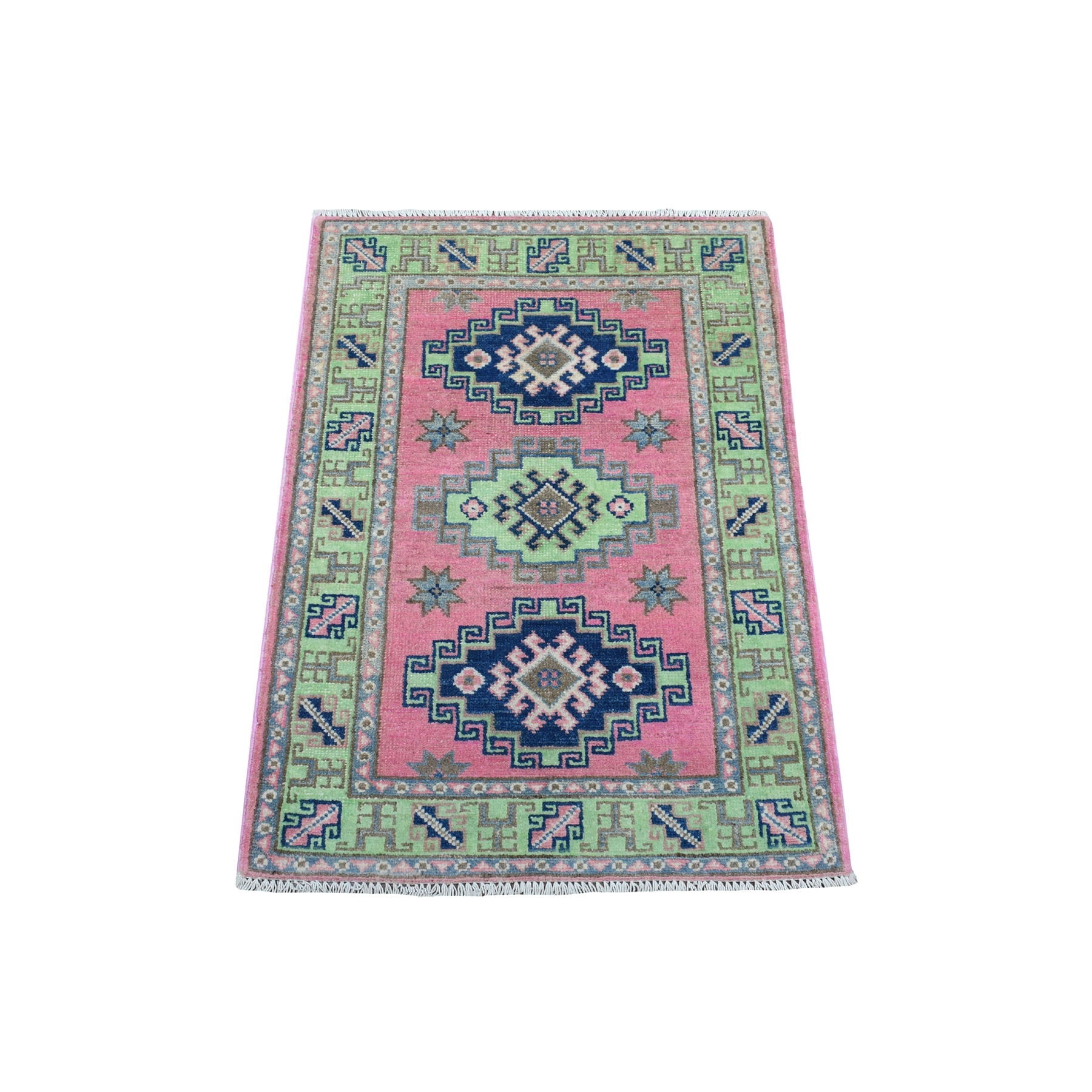 "2'X2'10"" Colorful Pink Fusion Kazak Pure Wool Geometric Design Hand Knotted Oriental Rug moaedca0"