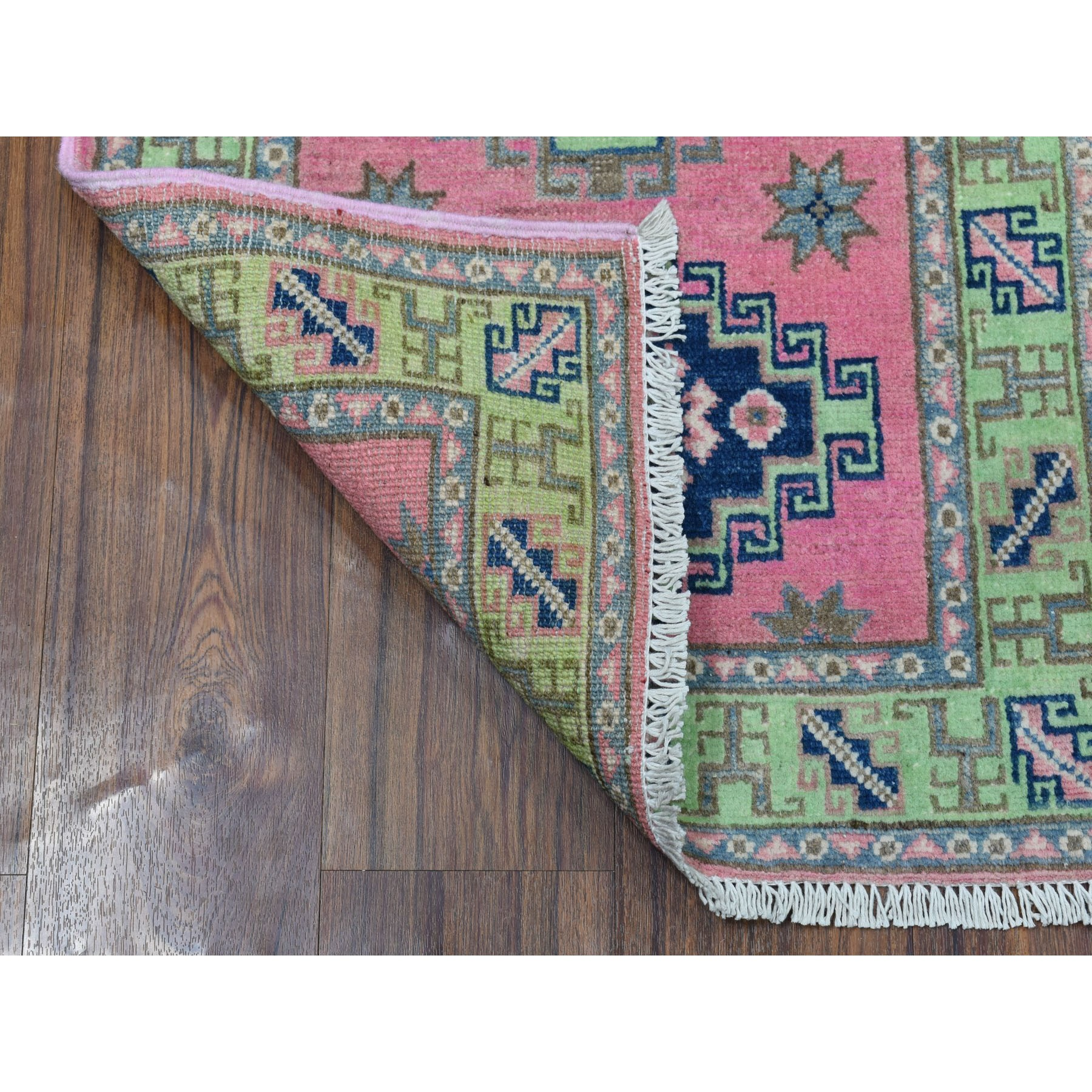 """2'x2'10"""" Colorful Pink Fusion Kazak Pure Wool Geometric Design Hand Knotted Oriental Rug"""