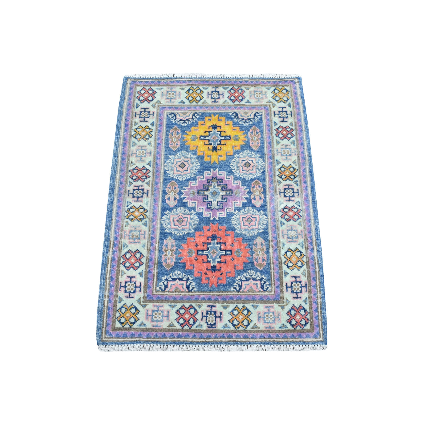 "2'1""x3' Colorful Blue Fusion Kazak Pure Wool Geometric Design Hand Knotted Oriental Rug 54311"