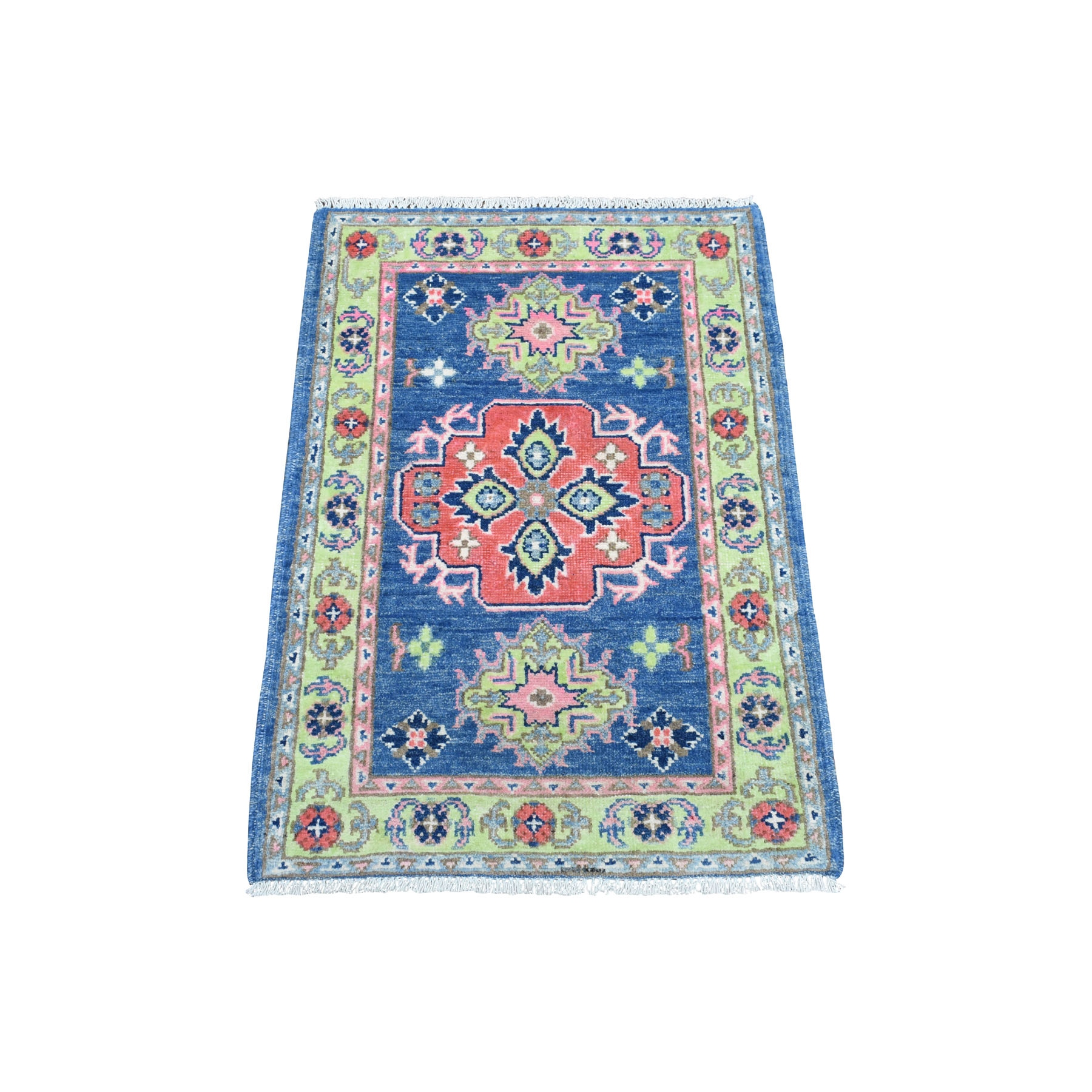 "1'10""X2'10"" Colorful Blue Fusion Kazak Pure Wool Geometric Design Hand Knotted Oriental Rug moaedcab"