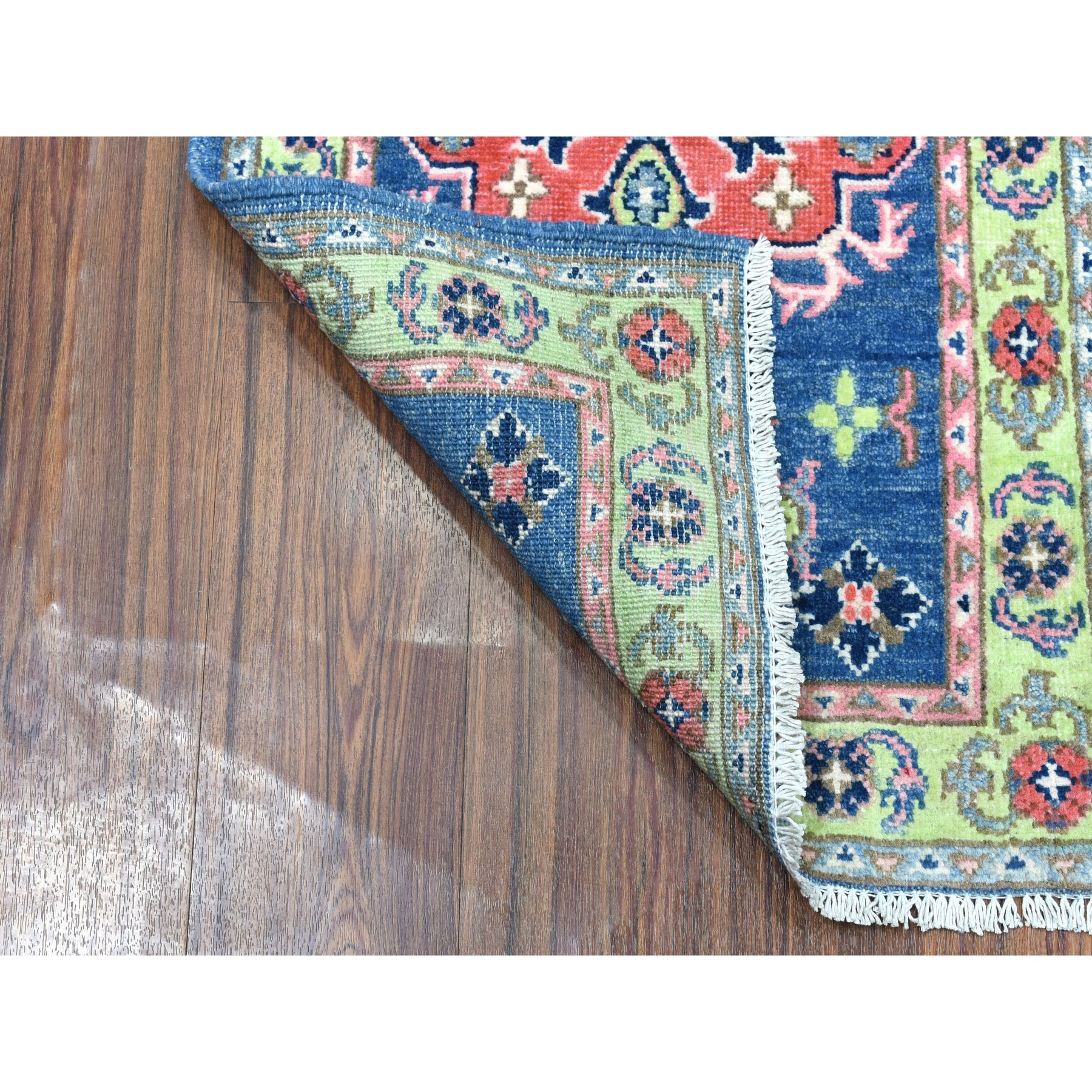 "1'10""x2'10"" Colorful Blue Fusion Kazak Pure Wool Geometric Design Hand Knotted Oriental Rug"