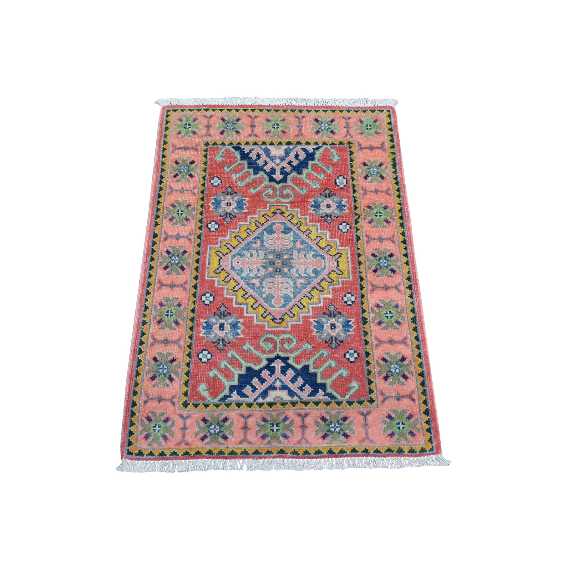 """2'x2'9"""" Colorful Red Fusion Kazak Pure Wool Geometric Design Hand Knotted Oriental Rug"""
