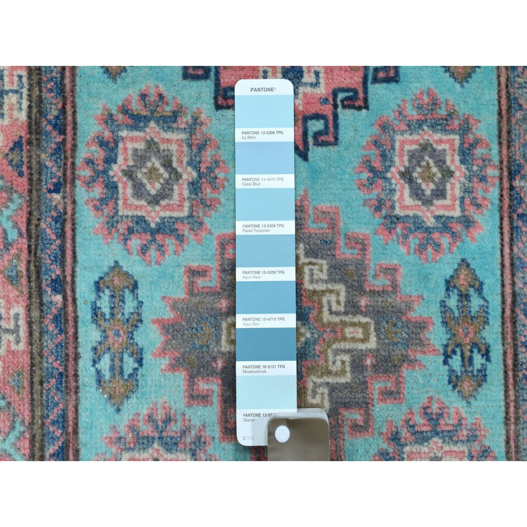 "2'x3'1"" Colorful Aqua Blue Fusion Kazak Pure Wool Hand Knotted Oriental Rug"