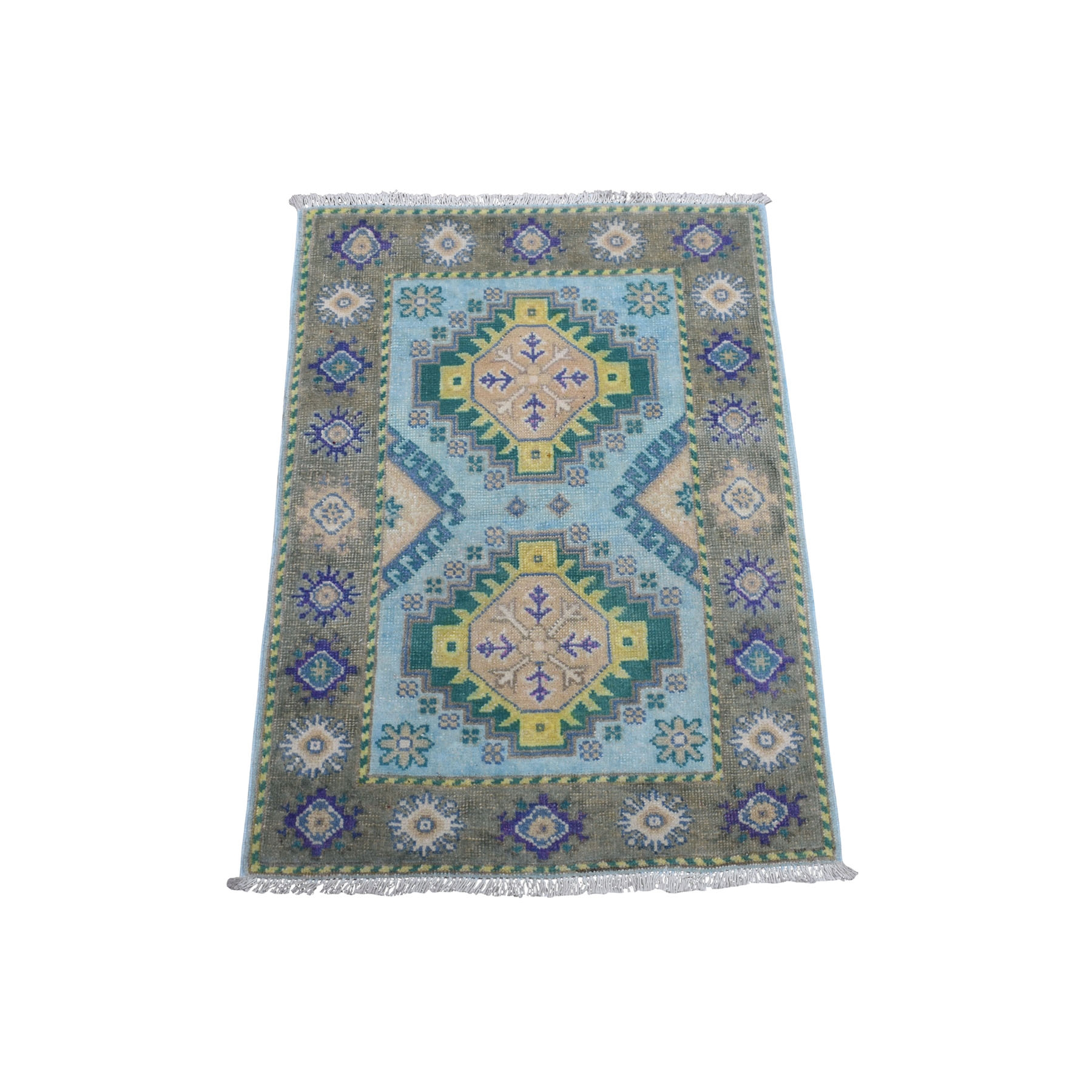 "2'2""x2'9"" Colorful Aqua Blue Fusion Kazak Pure Wool Hand Knotted Oriental Rug"