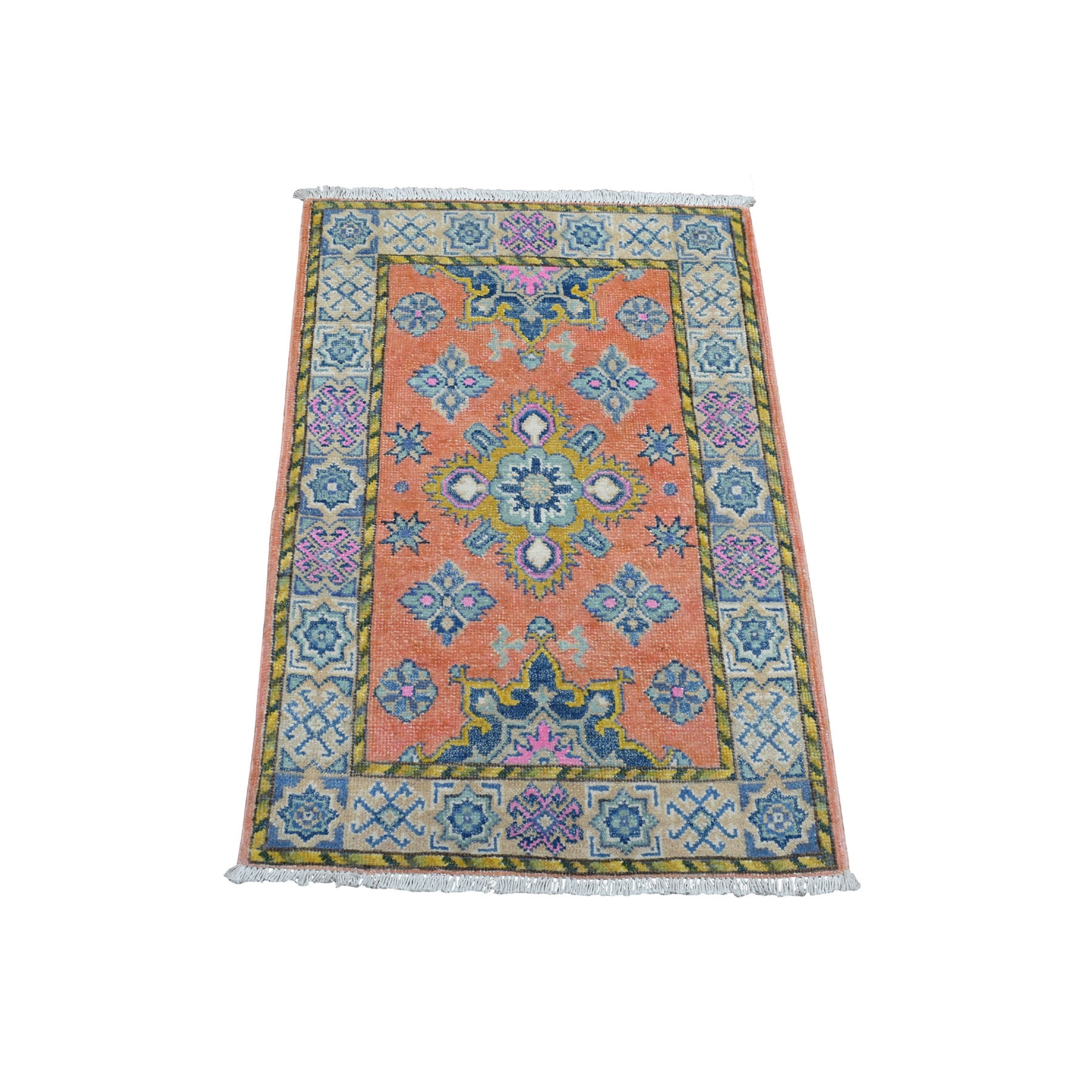 2'x3' Colorful Pink Fusion Kazak Pure Wool Geometric Design Hand Knotted Oriental Rug 54317